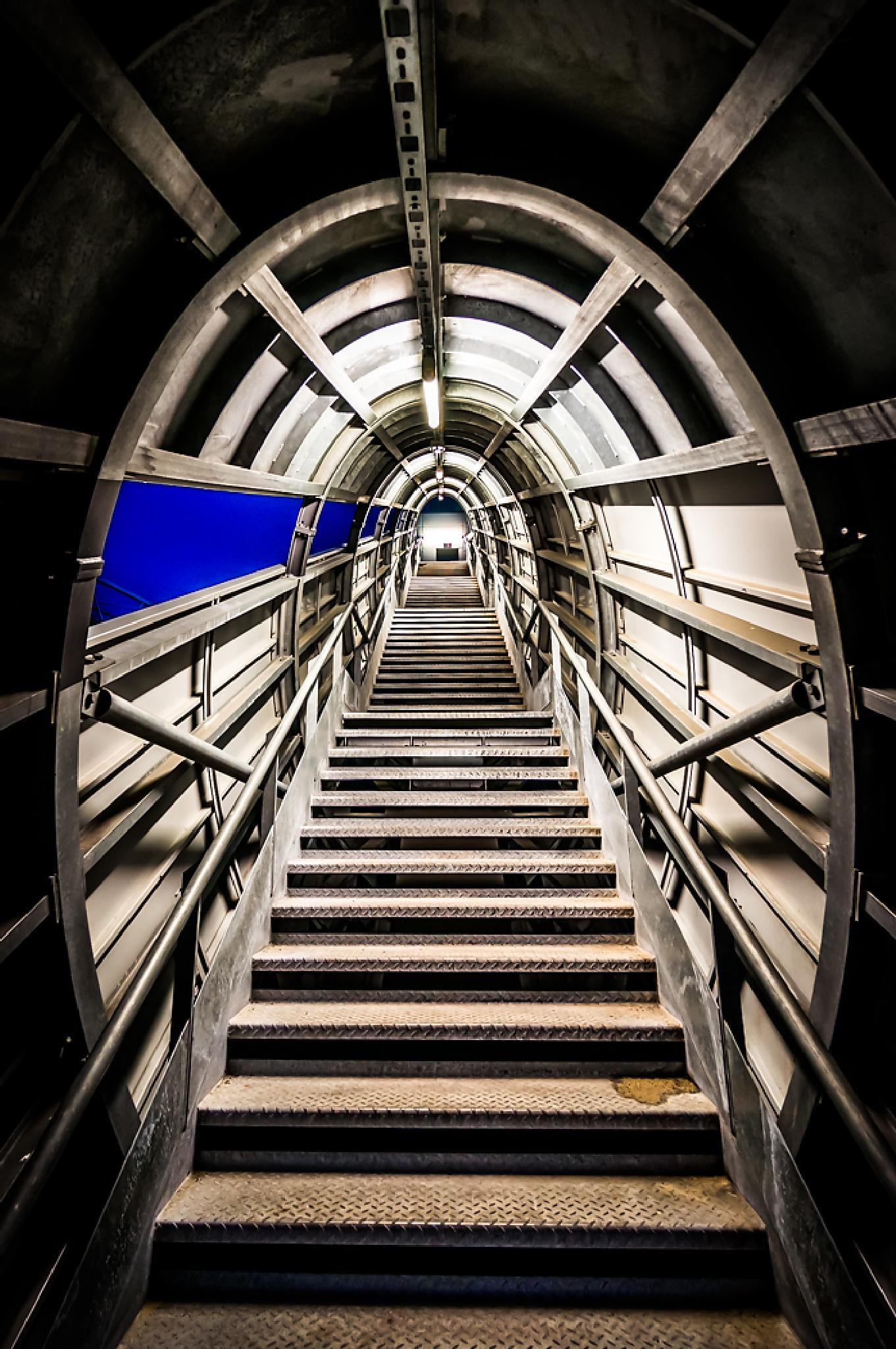 Photo in Architecture #stairs #tunnel #blue #lines #upstairs