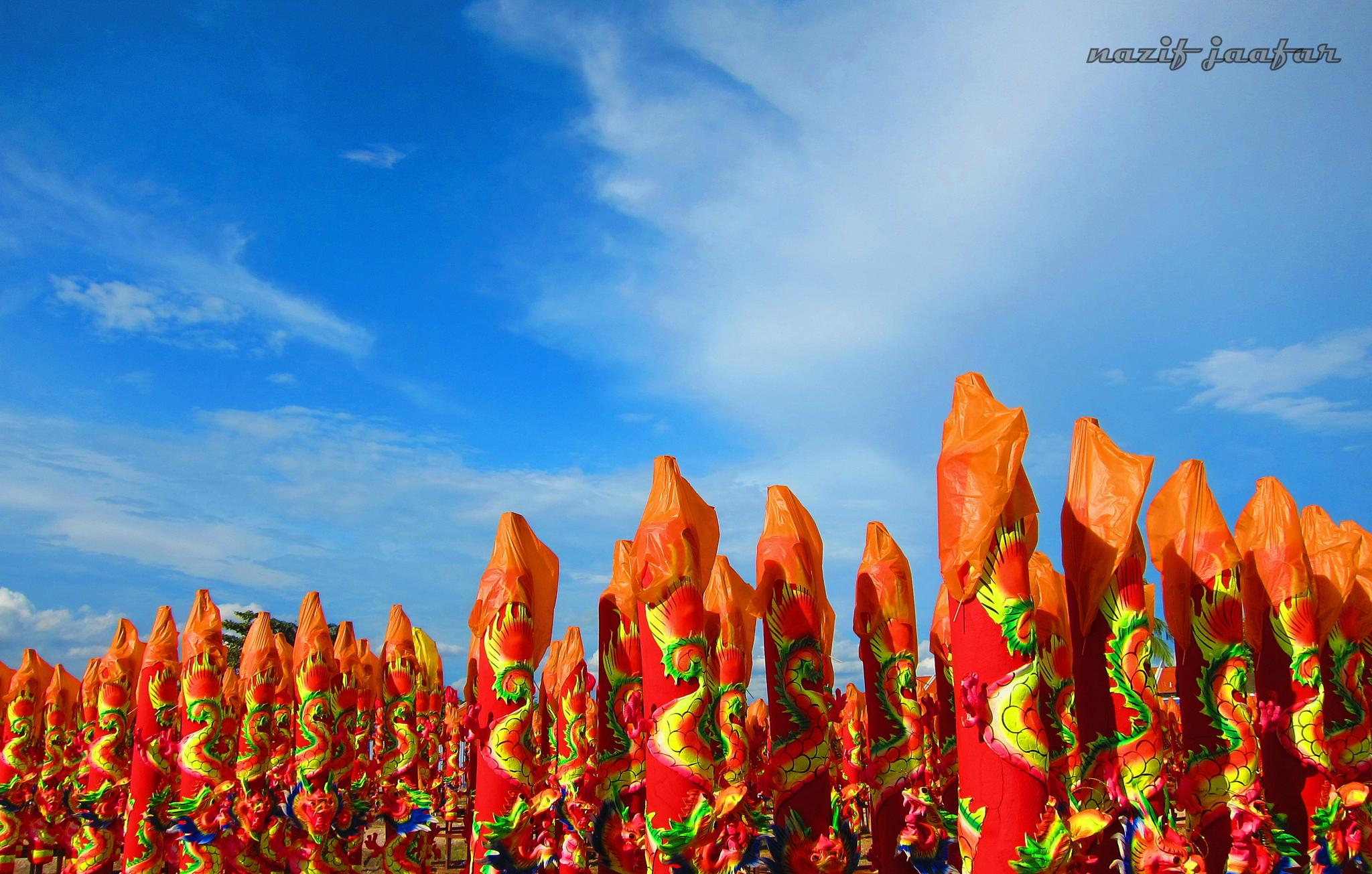 Blue Sky : Red Poles by nazifjaafar