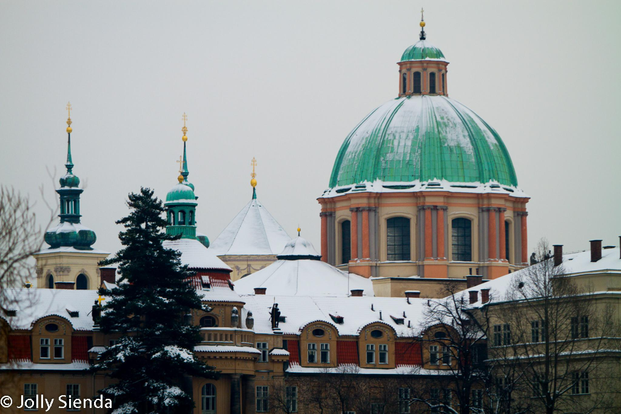 Prague in the winter and the cities Baroque architecture by Jolly Sienda