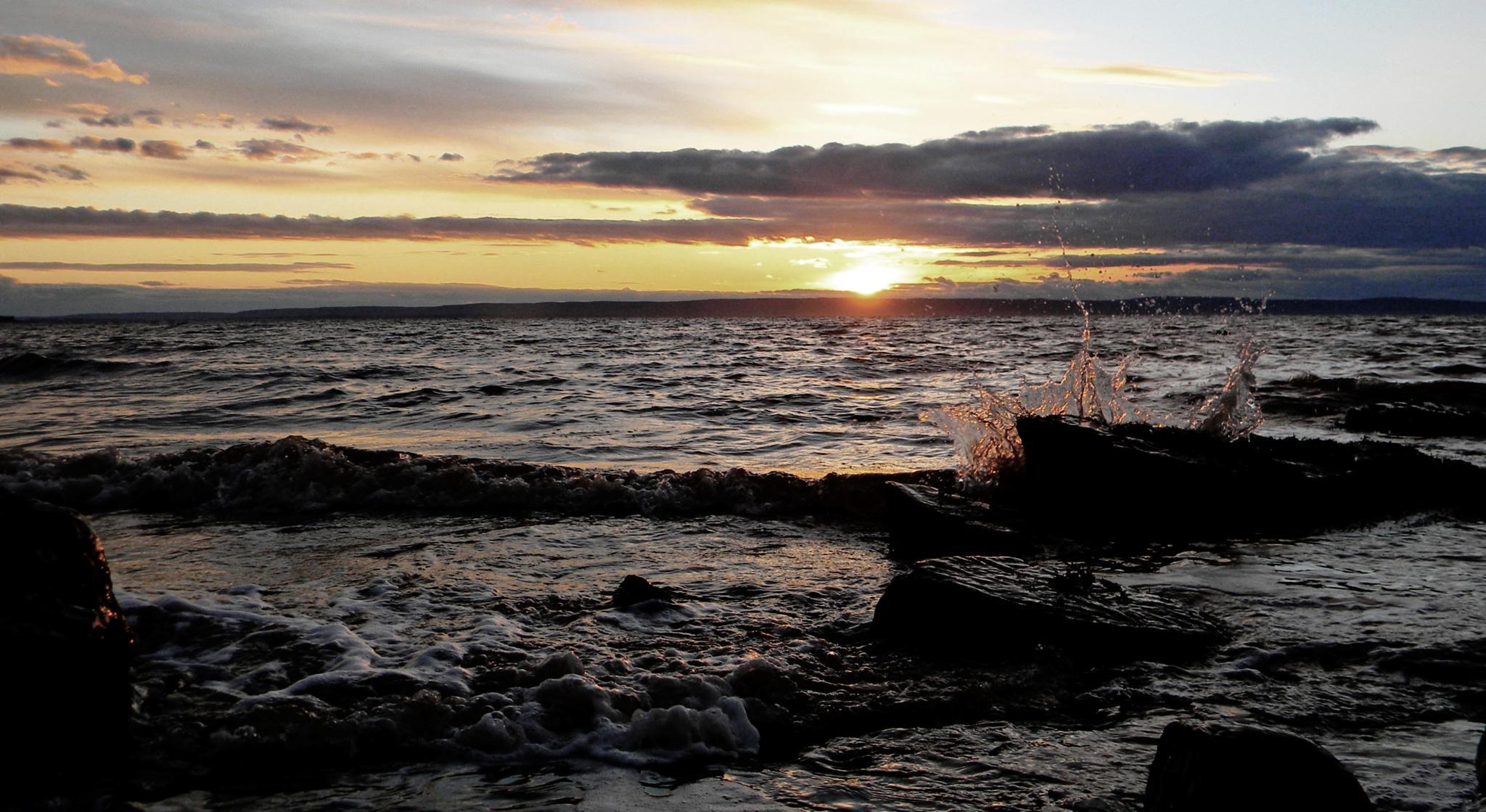 Sun Setting, Waves Crashing by Jesse Kalberlah