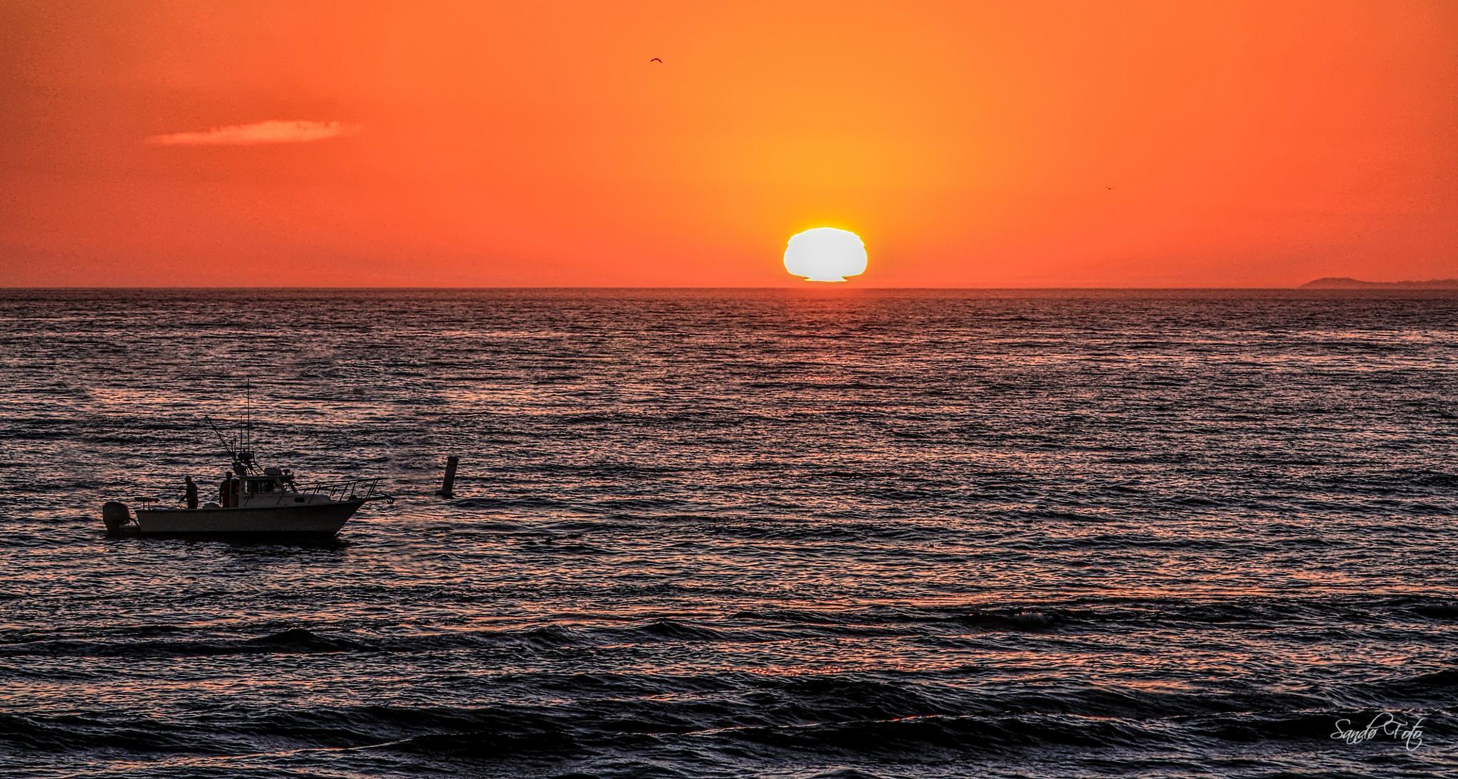 Fishermen Santa Monica Sunset by tjsandofoto