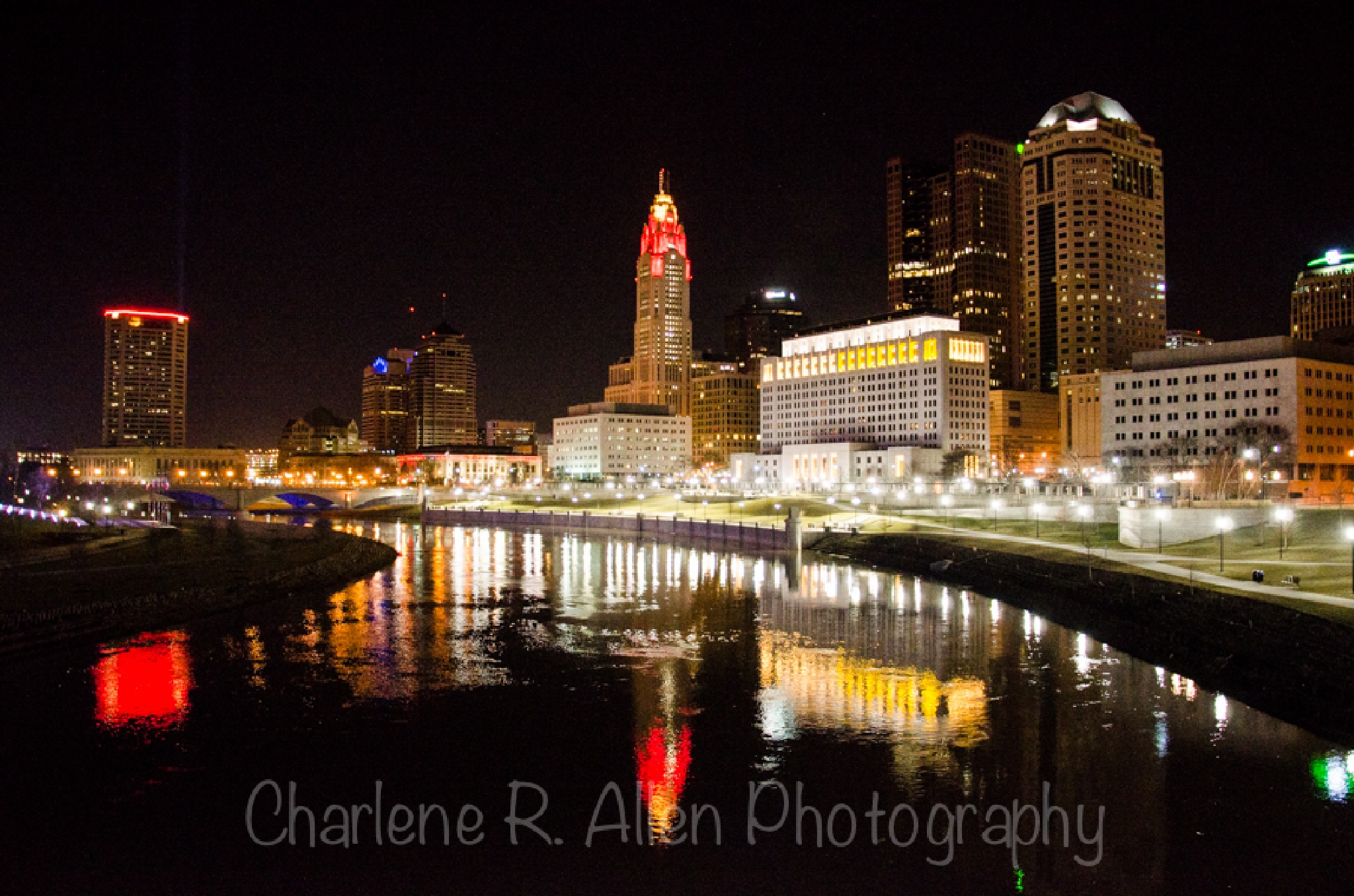 Downtown Columbus at Night by Charlene Allen