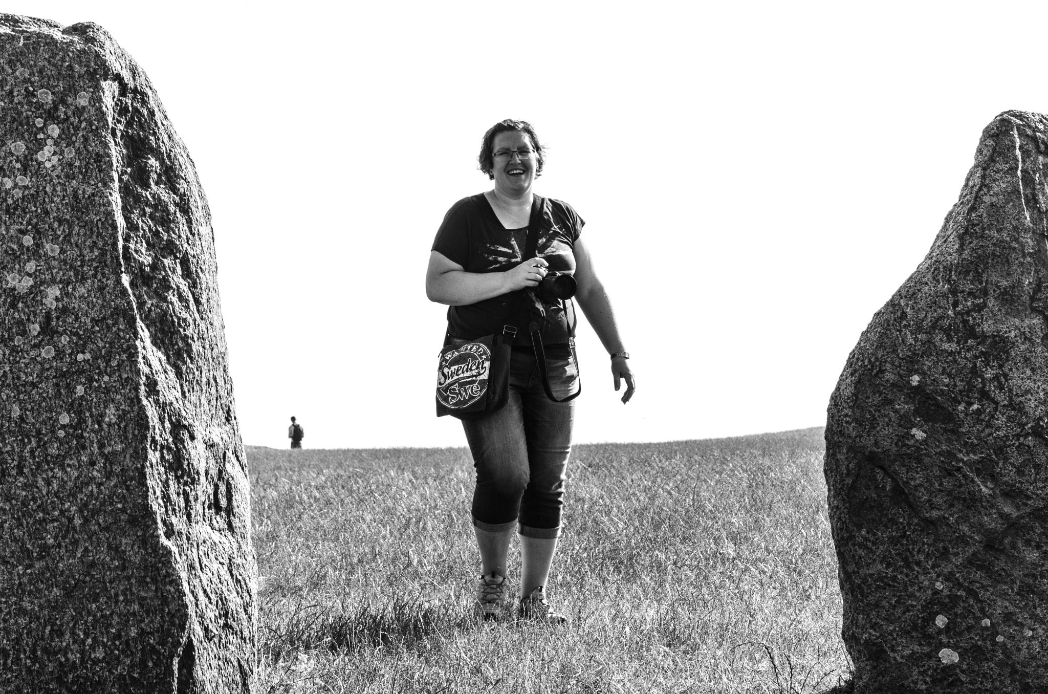 My beloved wife at the Ale stones by Johnny Lythell