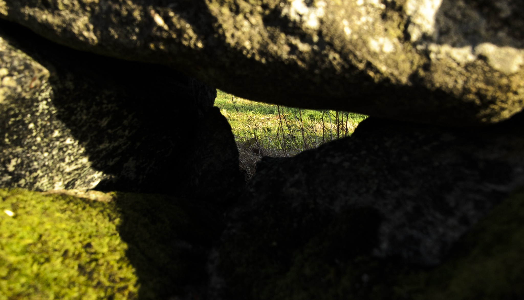 Stone in a stone wall around a field farmed by any farmer by Johnny Lythell