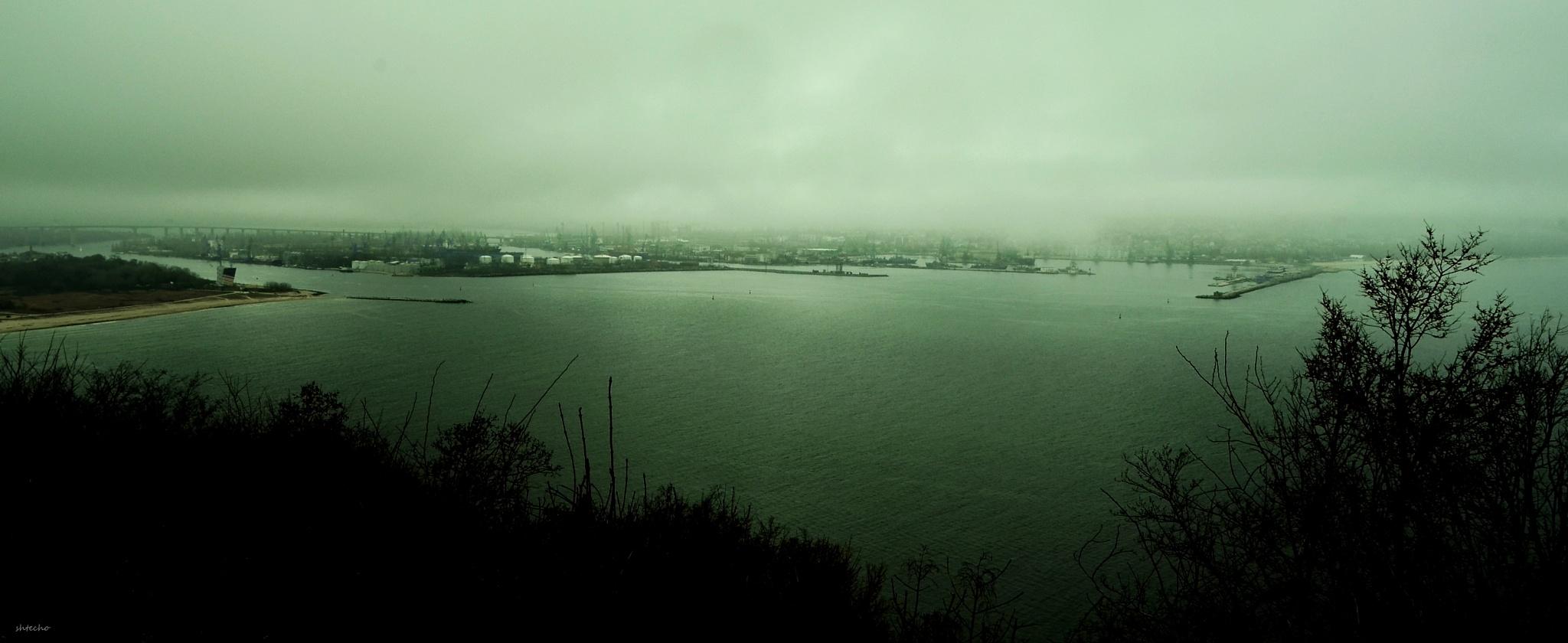 in fog Port of Varna ... by Sheryo Shterev