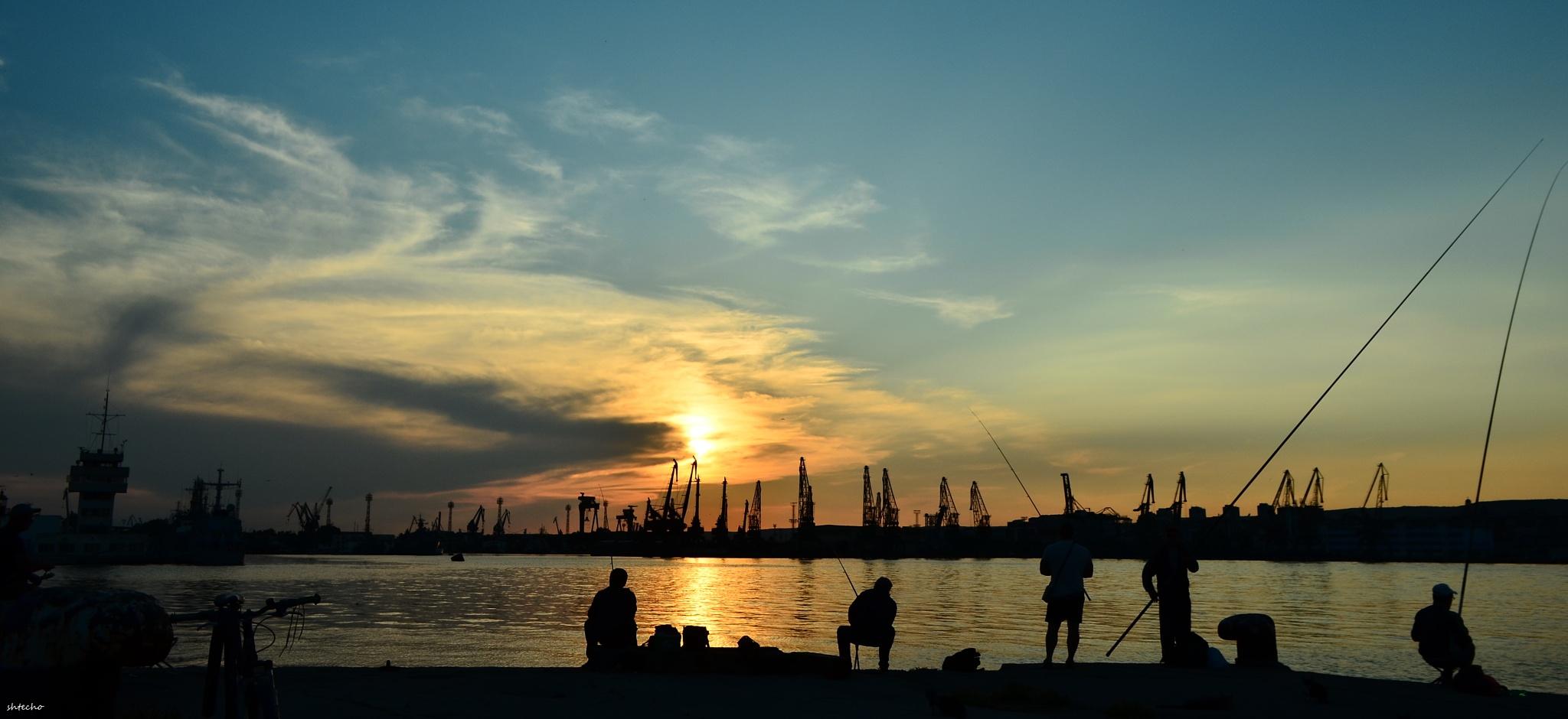 Photo in People #sun #sunset #sea #sky #clouds #fisherman #varna