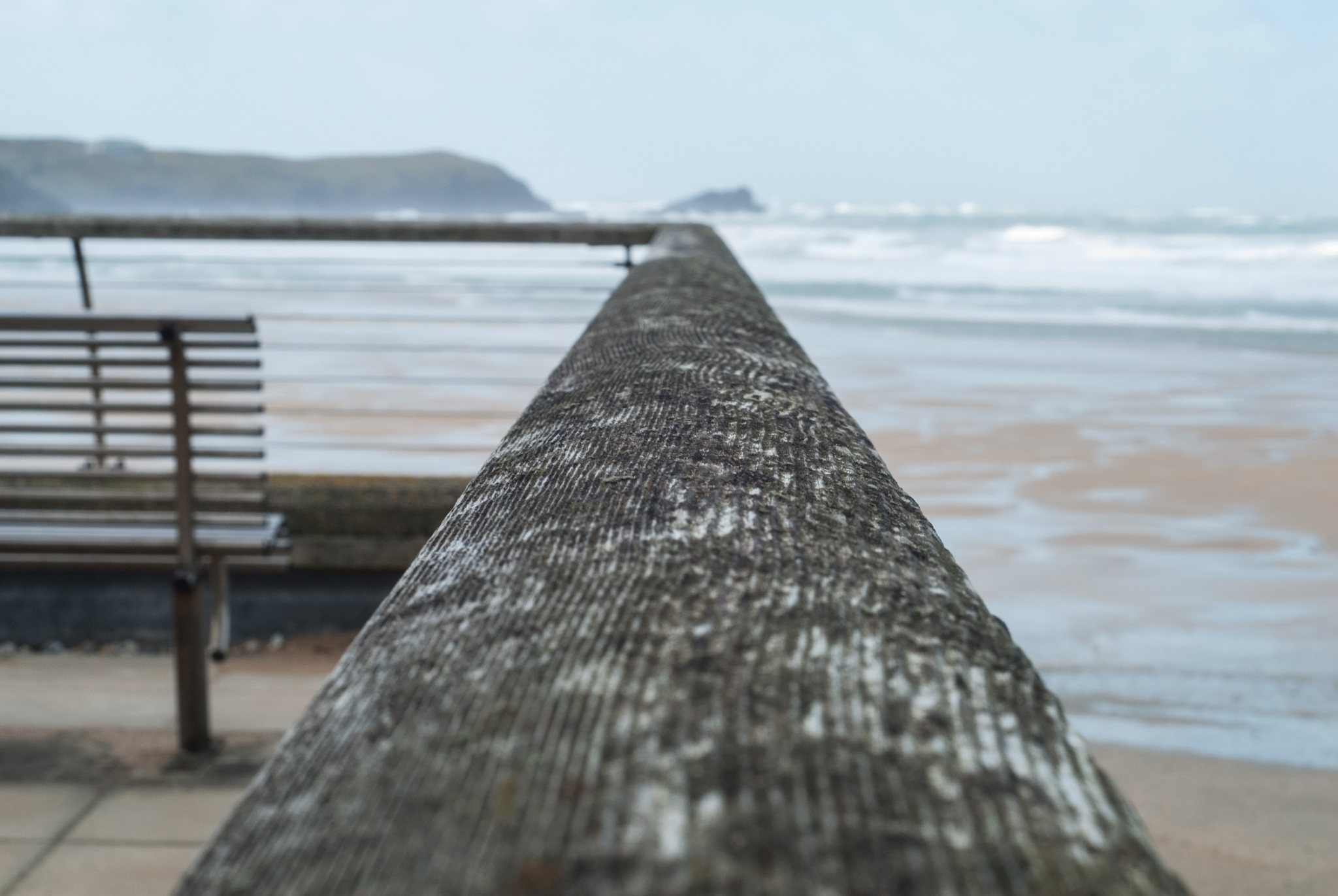 Photo in Abstract #barrier #beach #hold #sea #sand #wood #bench