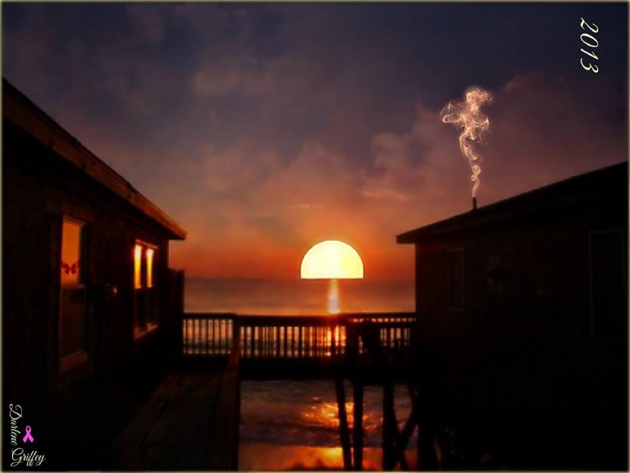 Sunrise on the beach  by darlene griffey
