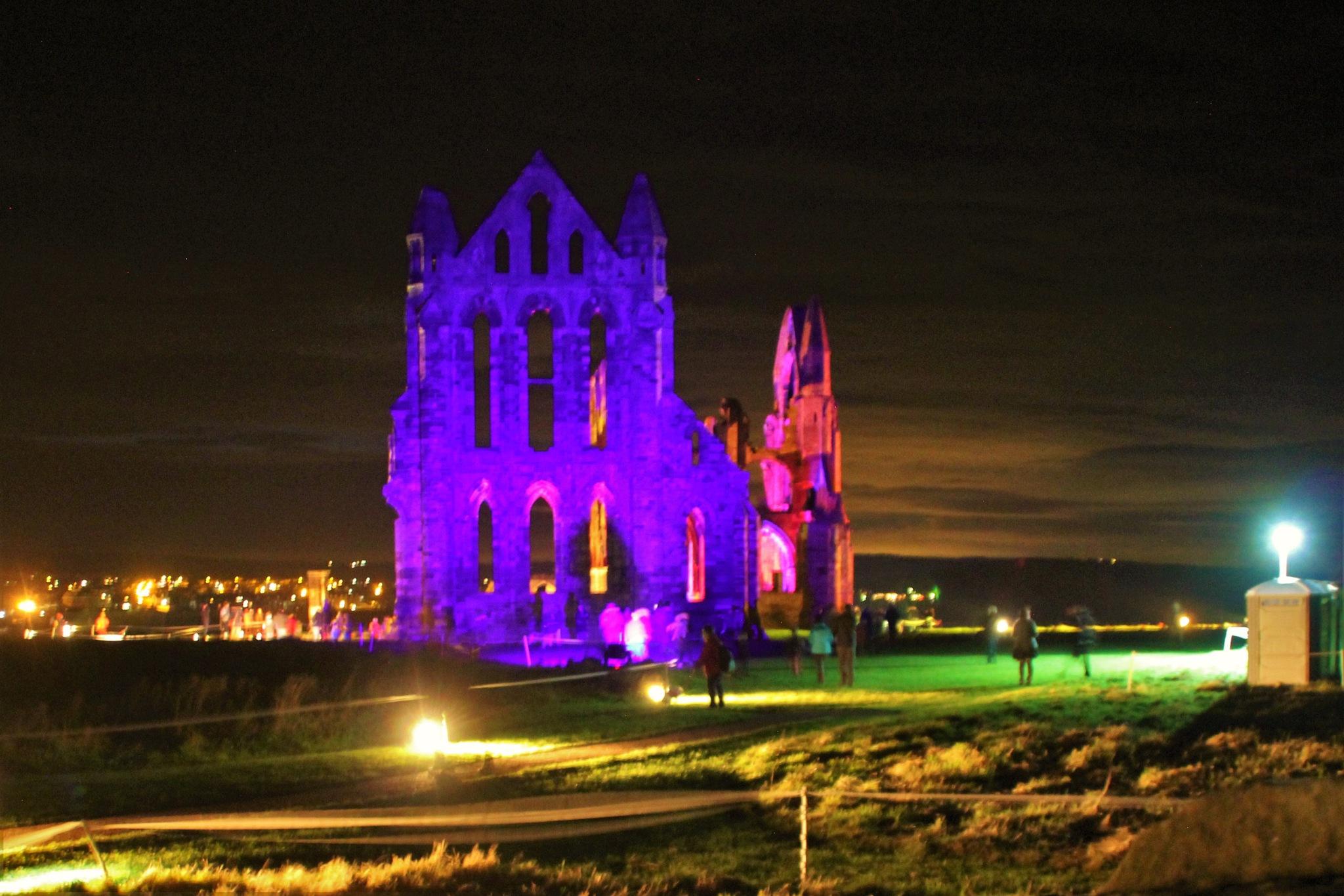 Whitby Abbey lit for Halloween by alijhawkins