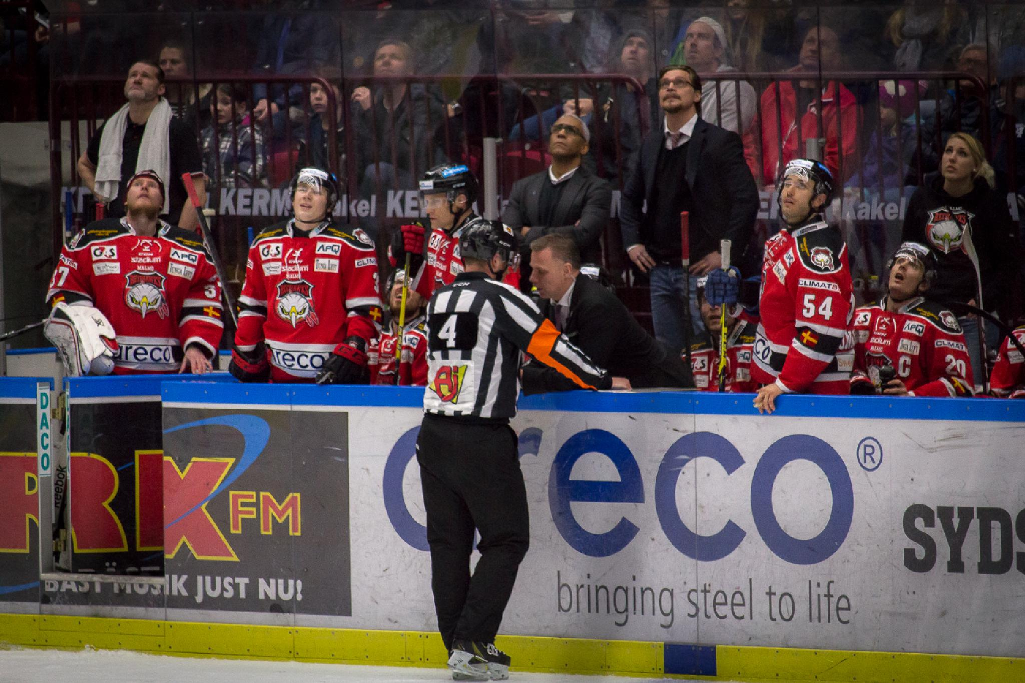 Goal under review, all eyes on the big screen. by Magnus Bengtsson