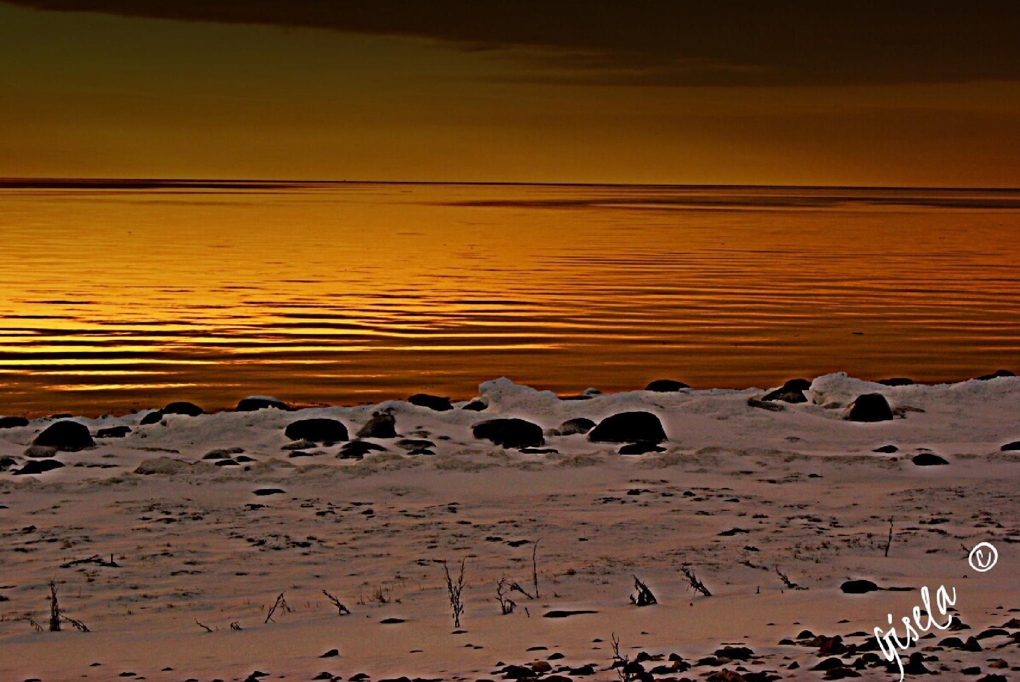 Öresund between Sweden and Denmark in a wintersday  by Gisela Tenggren