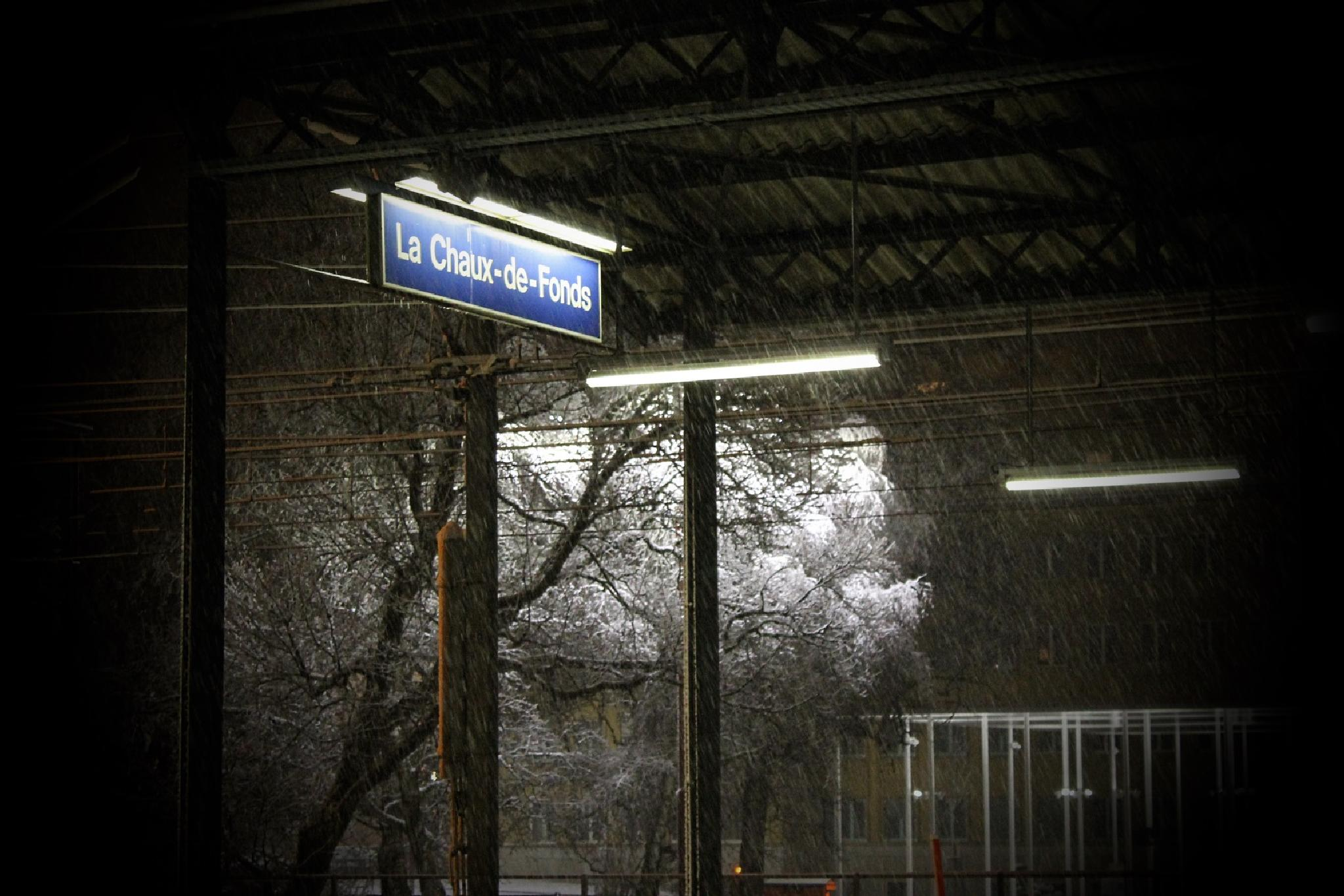 One winter night on a train platform! The magic of nature! by Andre RAMSEYER