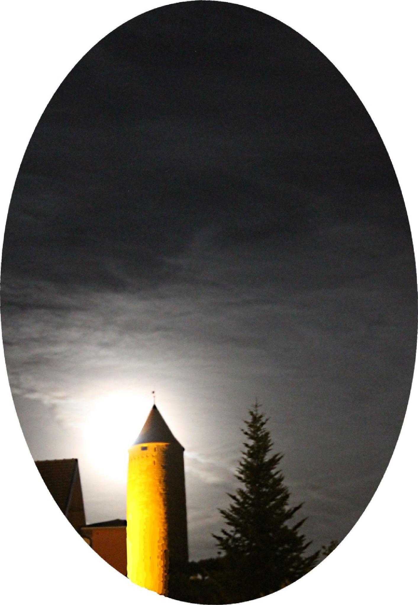 Romont, Switzerland! Medieval tower at night! by Andre RAMSEYER