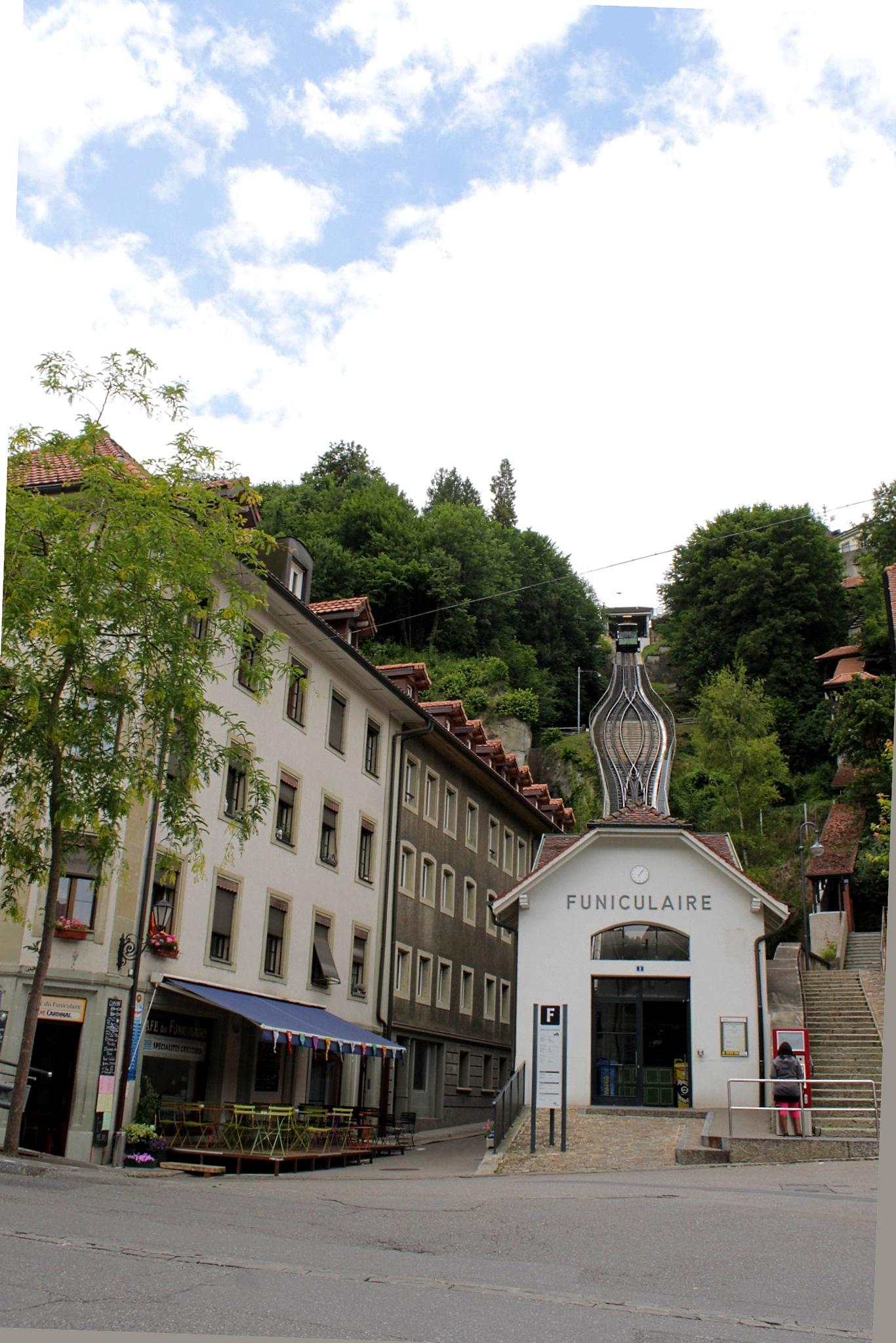 Funicular Lower Town to the city of Fribourg, Switzerland by Andre RAMSEYER