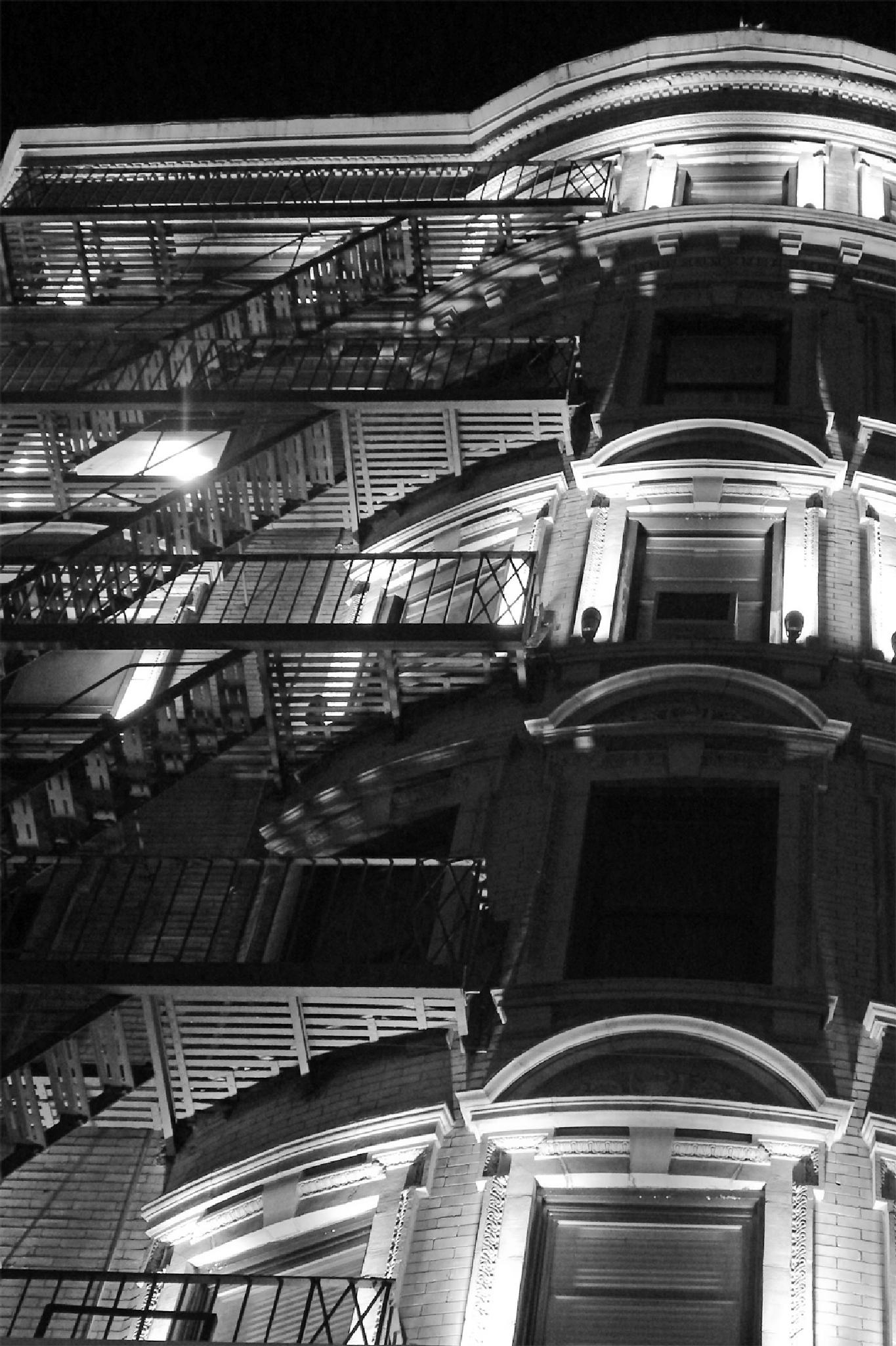 Stairs in the Night, New York City by lilia.malor