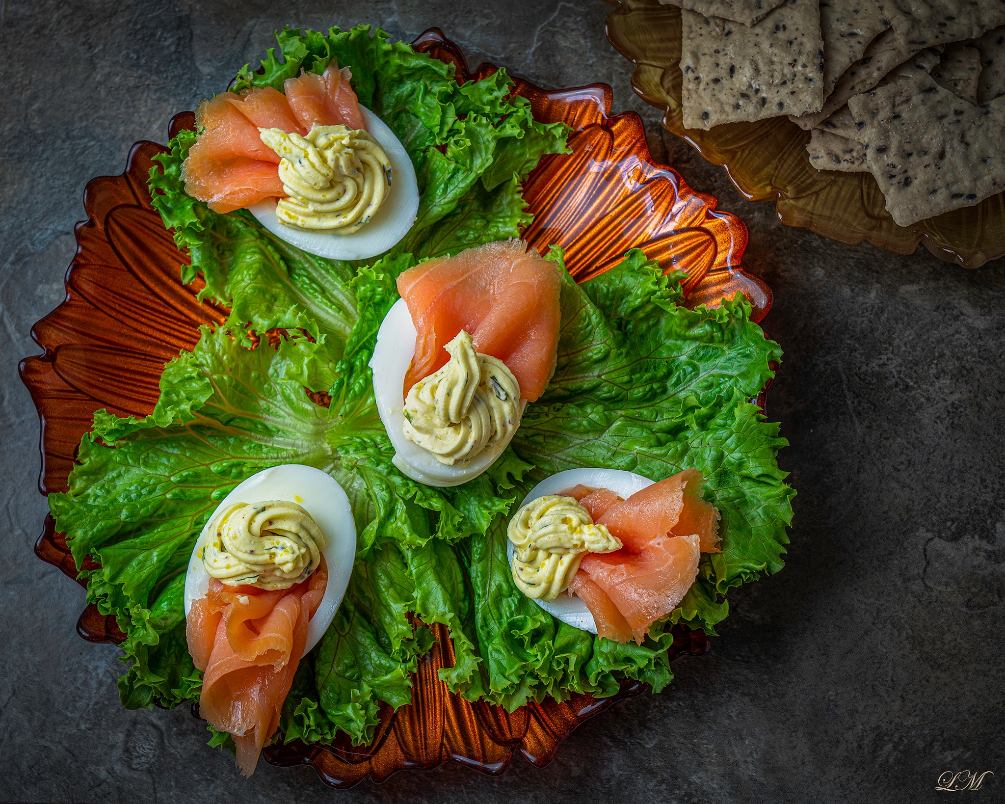 Eggs with Smoked Salmon on a Bed of Lettus by Lily Malor