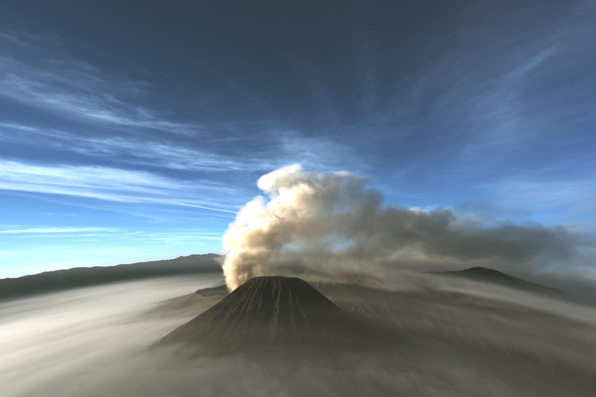 Volcano on fisheye by roy rabone