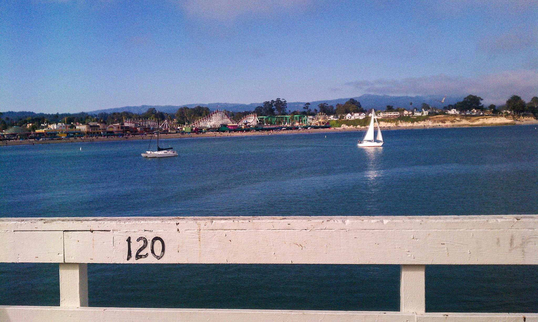Photo in Landscape #santa cruz #santa cruz beach boardwalk #ca #california #beach #sailboat