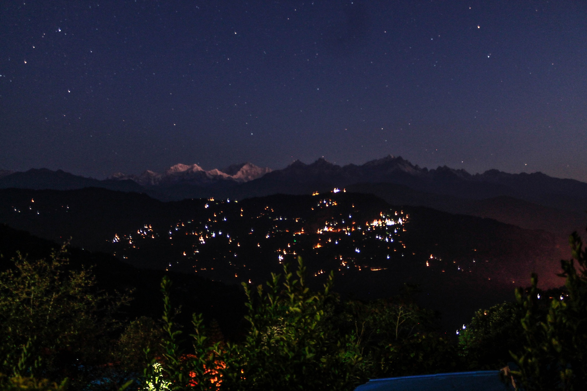 At Night with the stars and Mt Kanchenjonga in the distance, Sikkim by subhagatadey