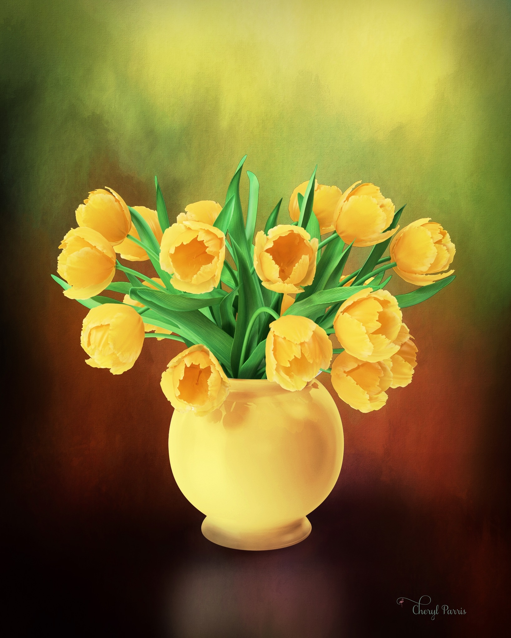 Yellow Tulips in a Vase by Cherbeni