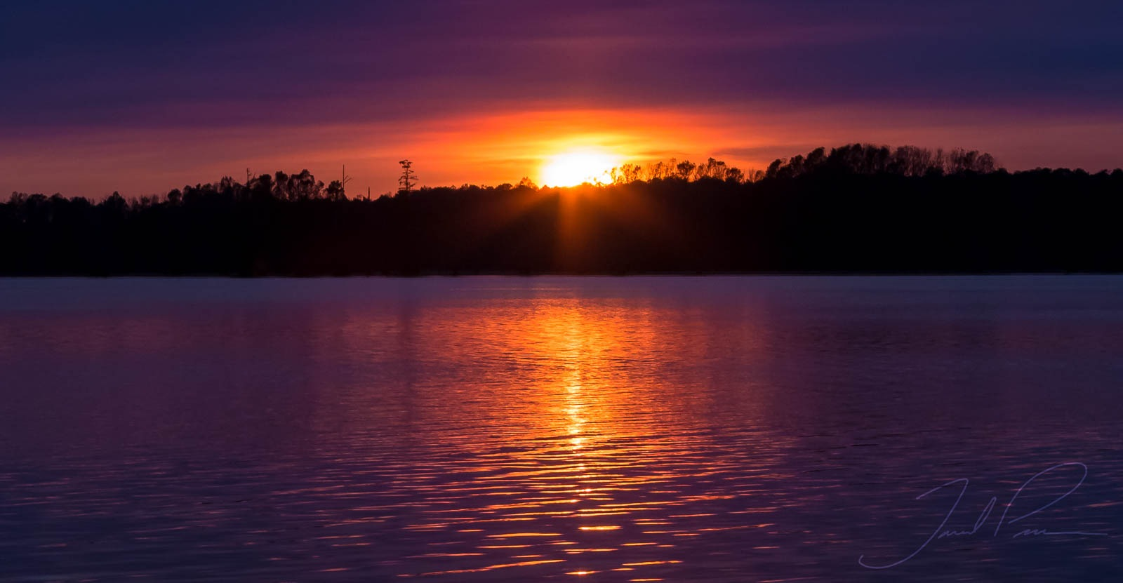 Sunset over Santee Cooper by Jared Pease