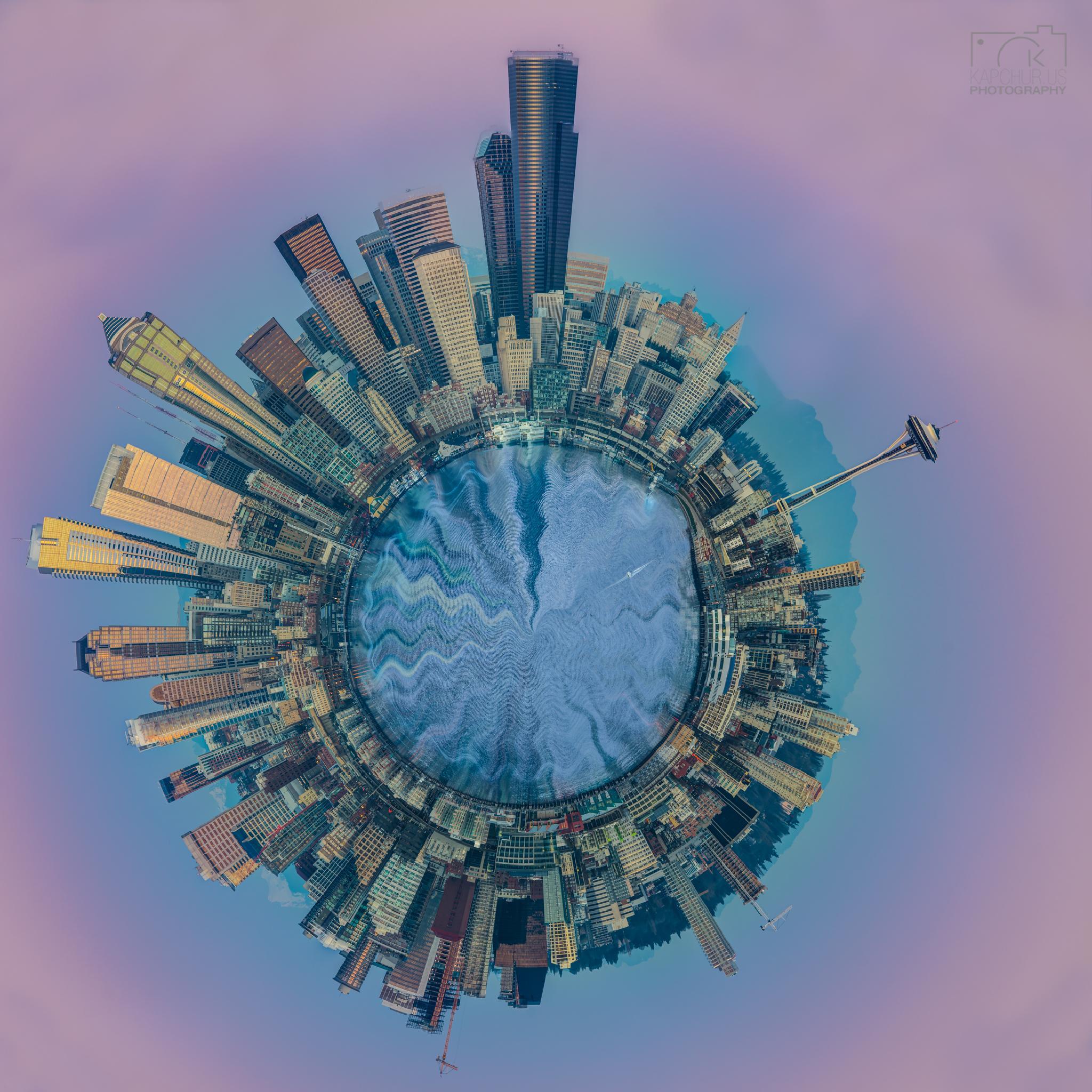 Circular Pano of Pink Seattle by kapchur.us photography (Richard Wood)