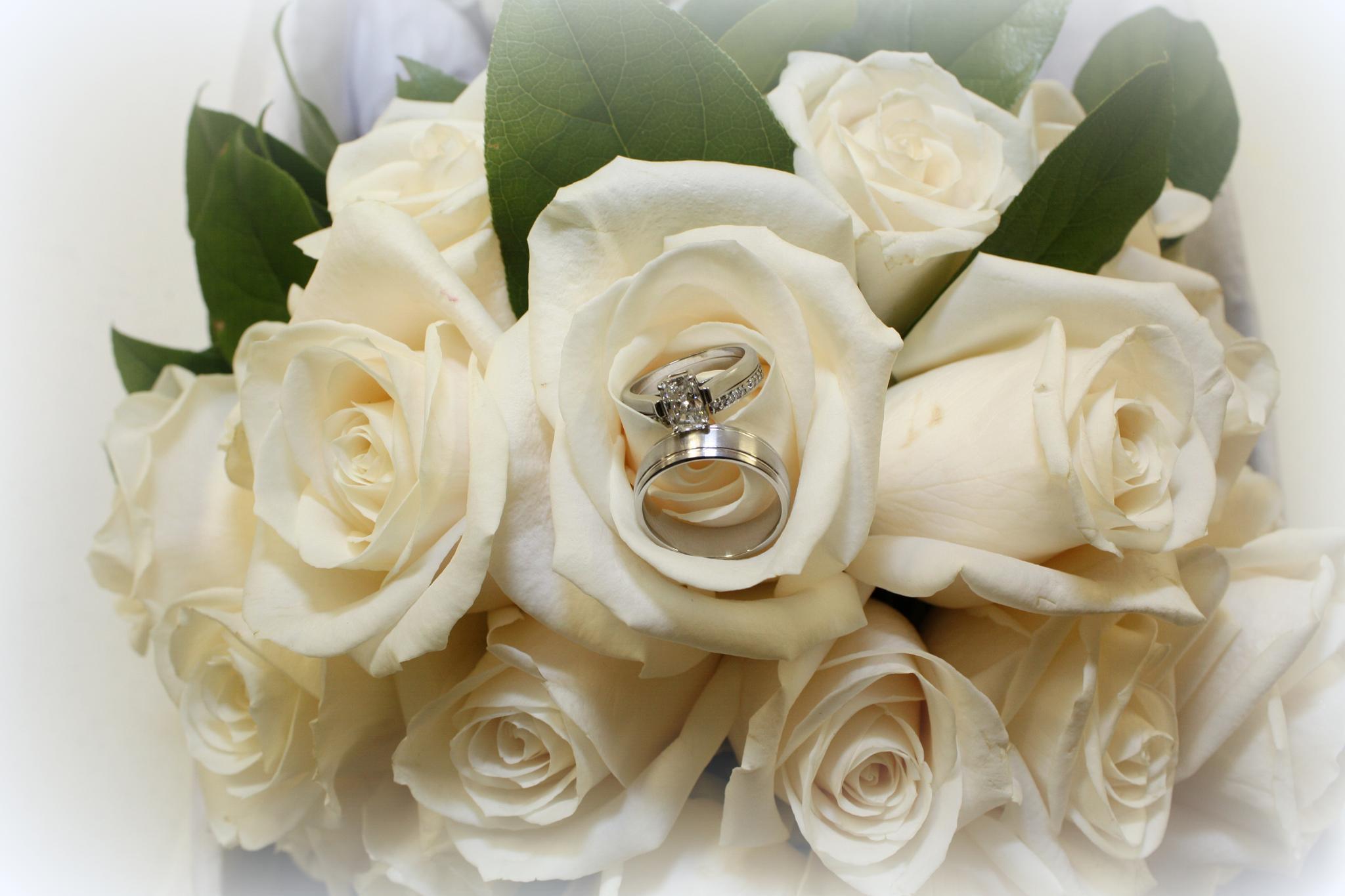 Wedding Rings in bouquet by Nicole Bixby