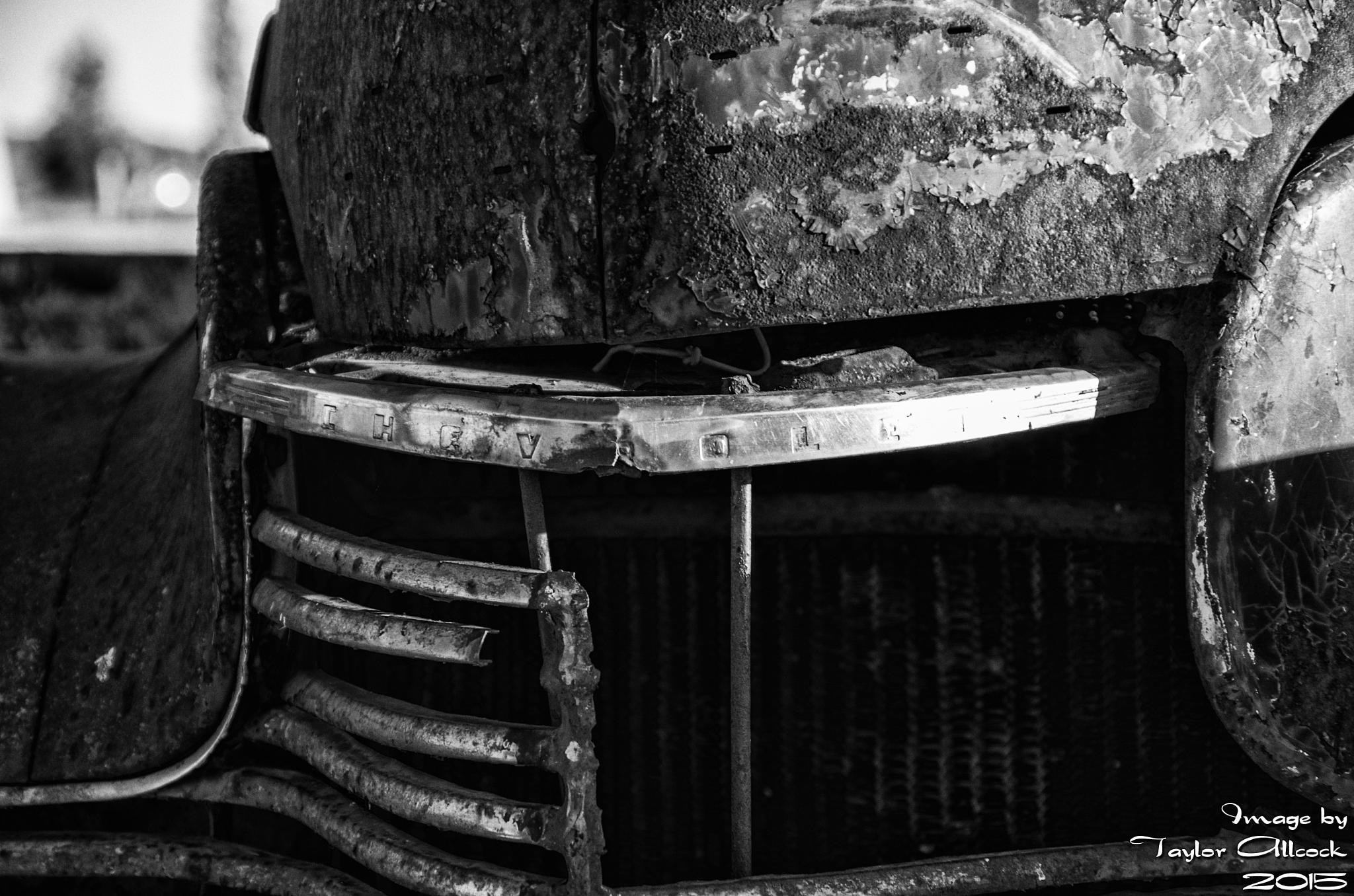 Photo in Black and White #rusty #rustic #chevy #chevrolet #auto #automotive #automobile #vehicle #rural #b&w #black and white #black/white