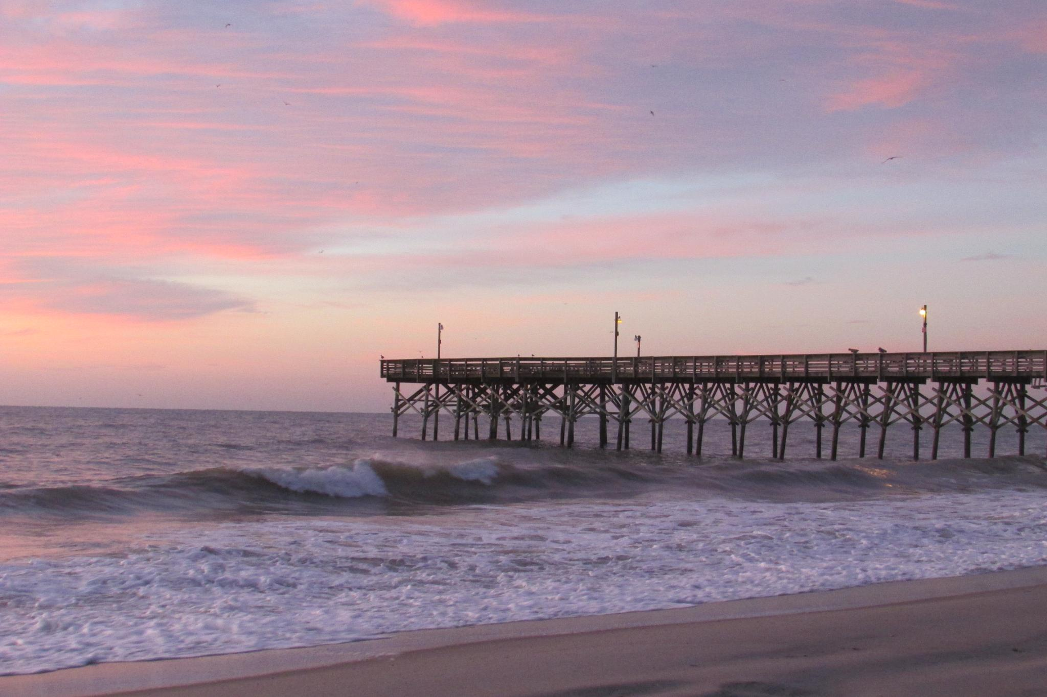 Myrtle Beach Fishing Pier at Sunrise by Lisa Marshall Moore