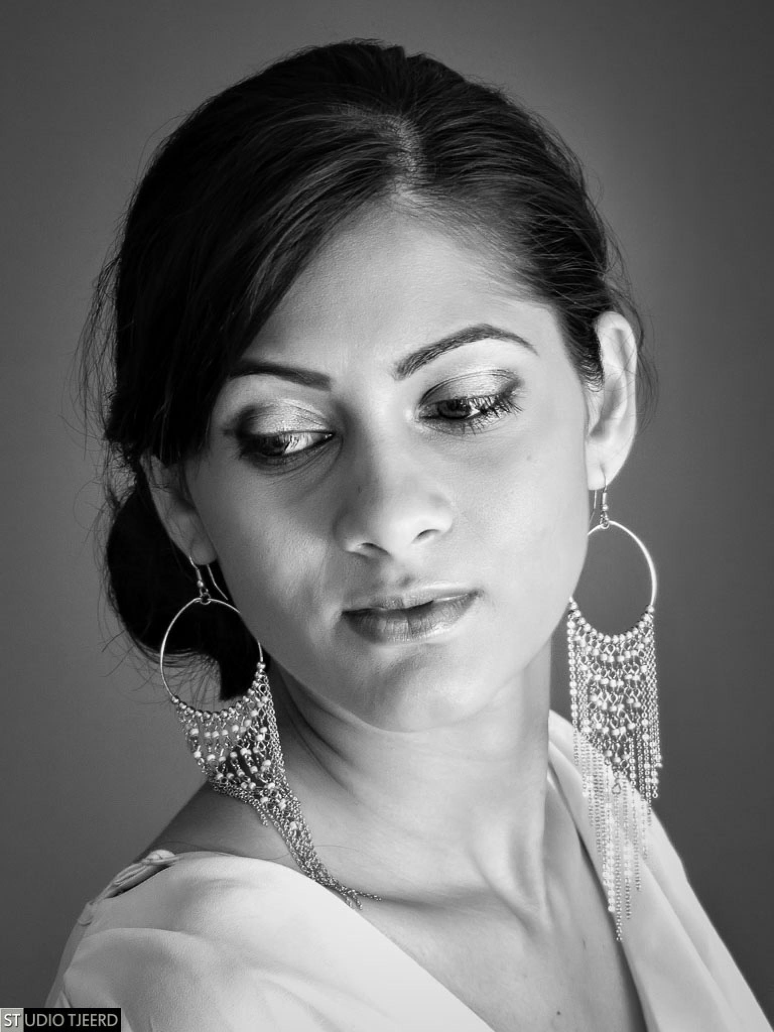 Photo in Portrait #woman #model #photoshoot #studio #studio tjeerd #portrait #black and white #b&w #panasonic #fz200