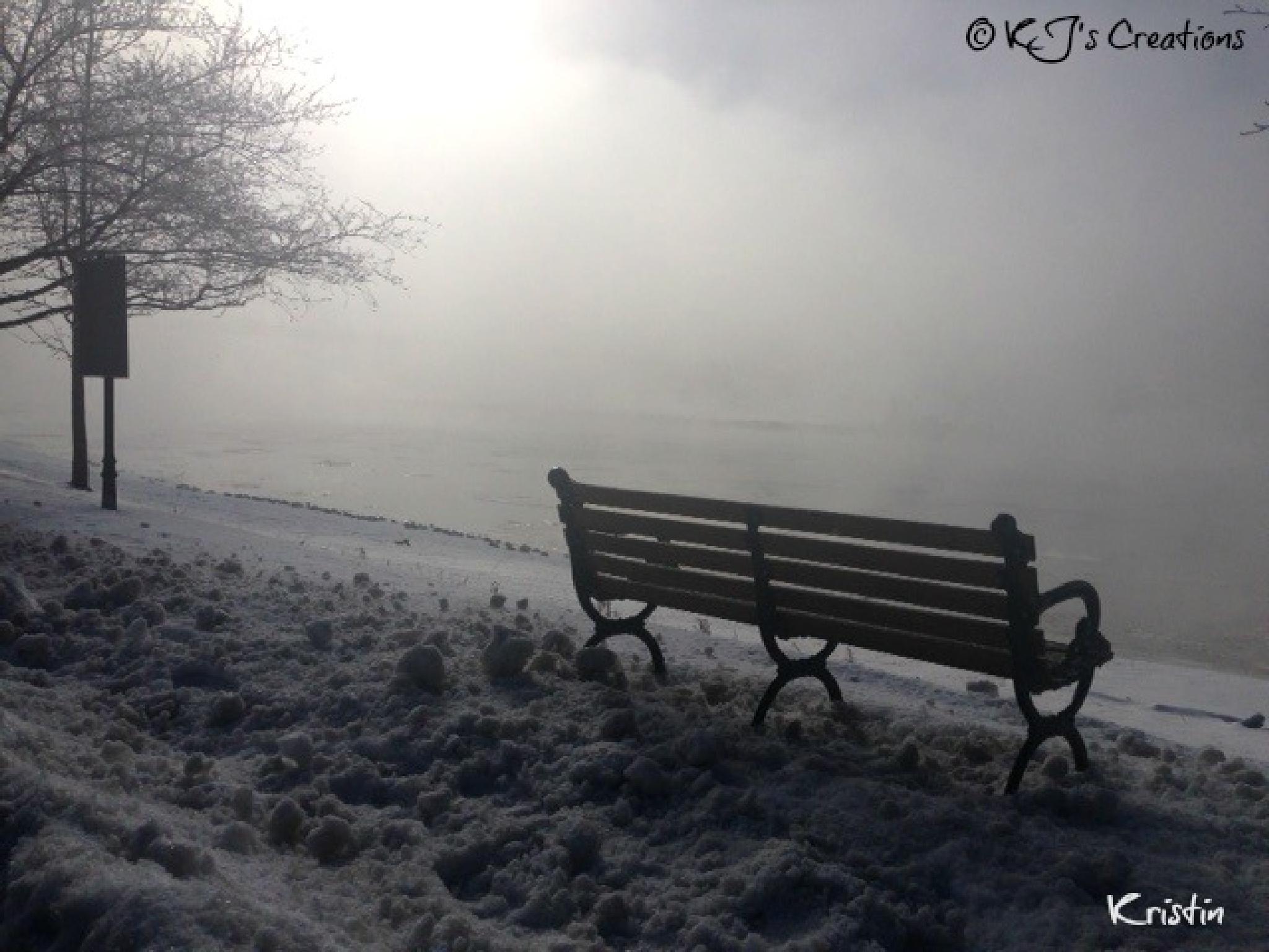 foggy morning bench by kristin j clevenger