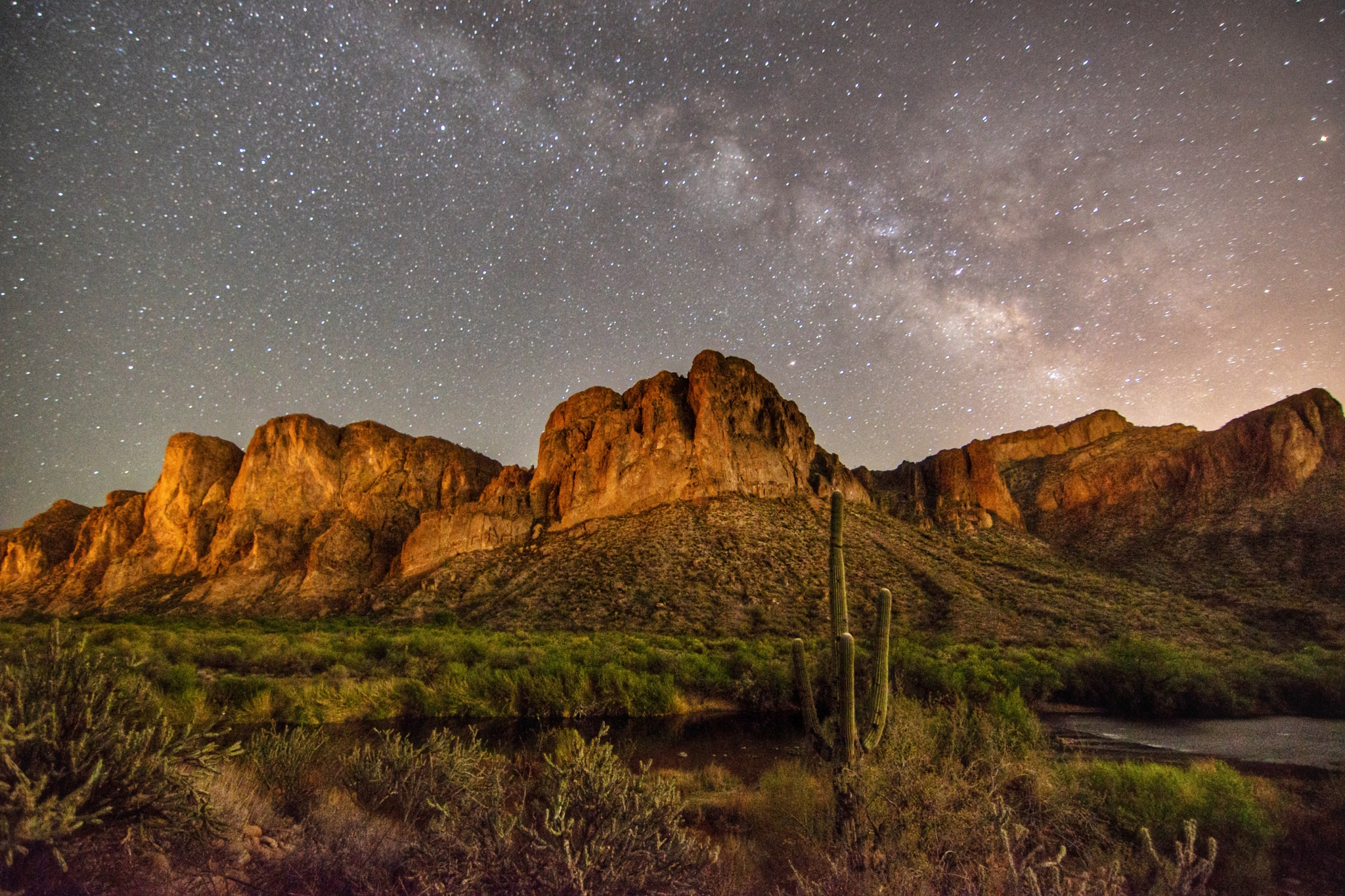Milky Way over the Bulldog Cliffs - Lower Salt River by Andy Dilling