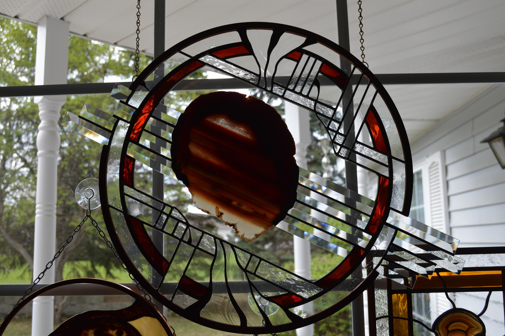 Stained Glass with a Brazillian Agate in the middle by CLCampbell