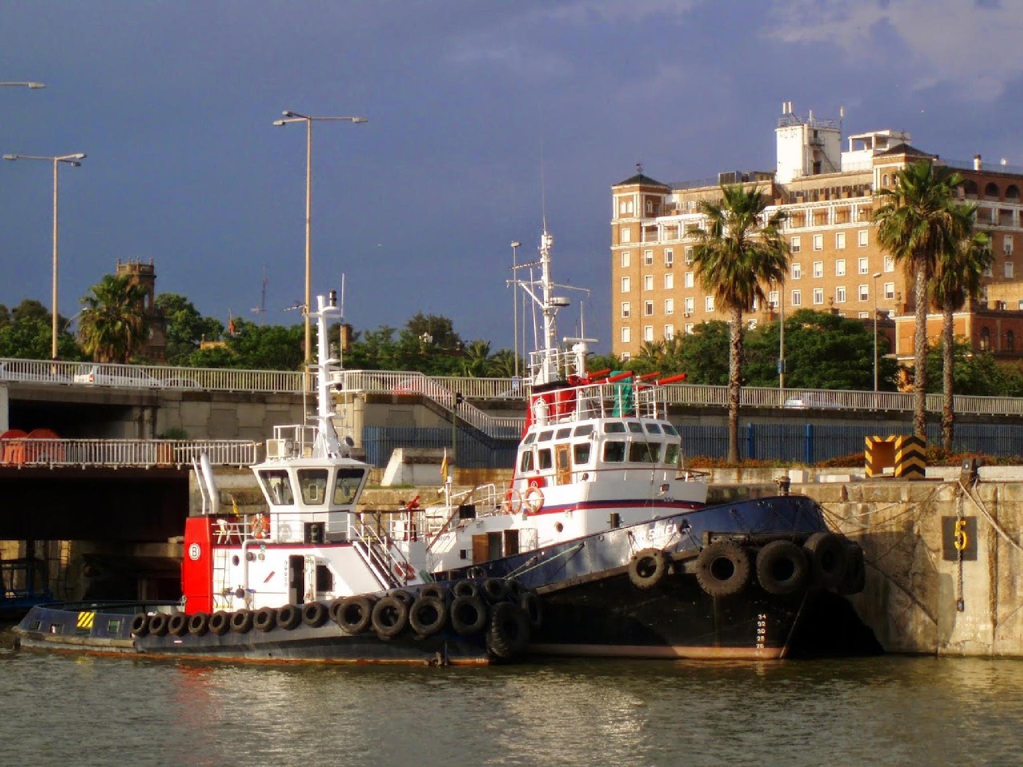 Barge at Sevilla Spain  by aida.carpena