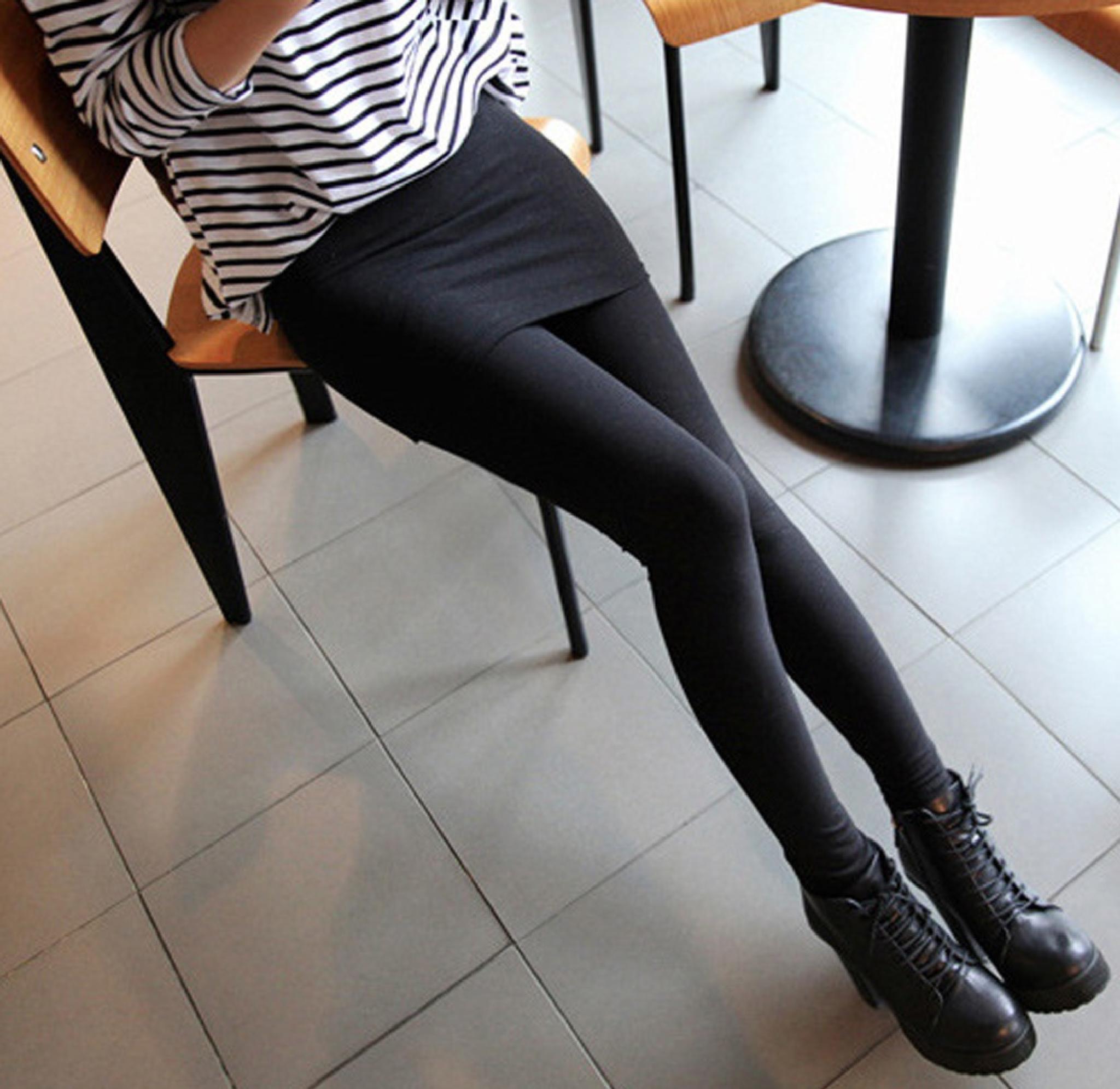 WOMEN'S CASUAL NEW LOOK FITTED SKIRT STYLE BLACK LEGGINGS  by GabriellaAlexus