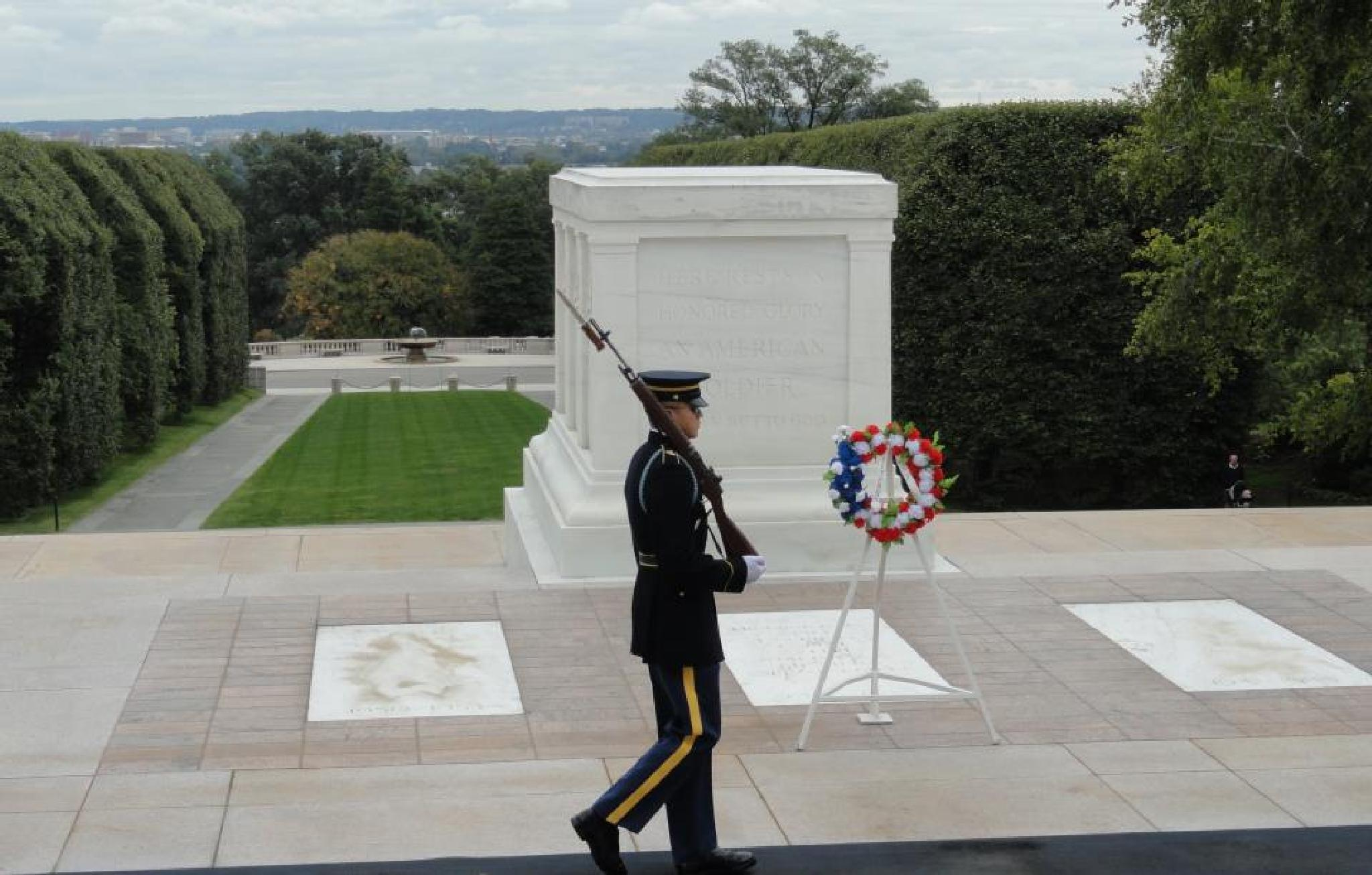Guarding  the Tomb of the Unknowns at , Arlington National Cemetery by audrey.kronkaitis