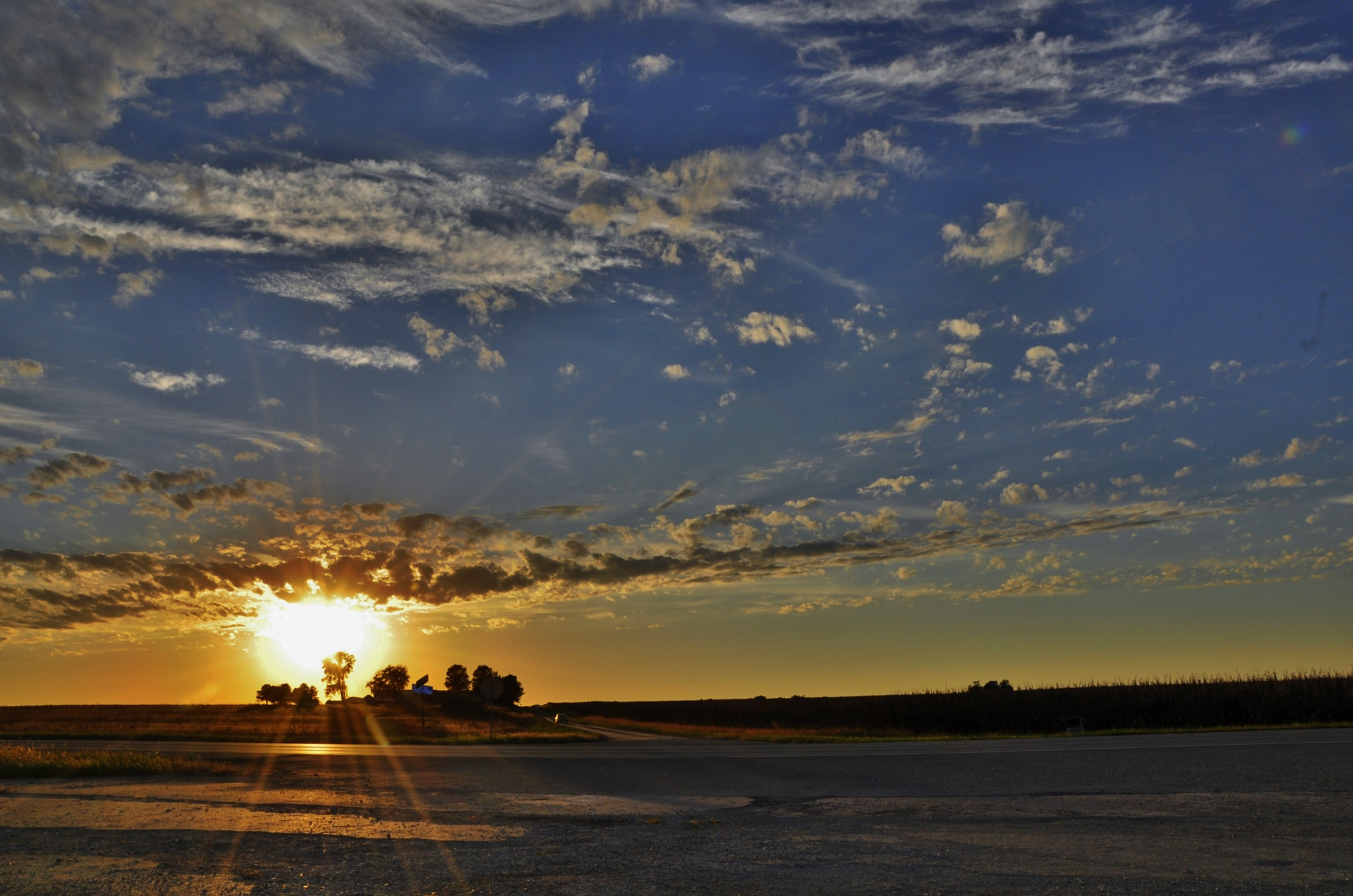 Sunset on an Illinois farm. by debbylesko