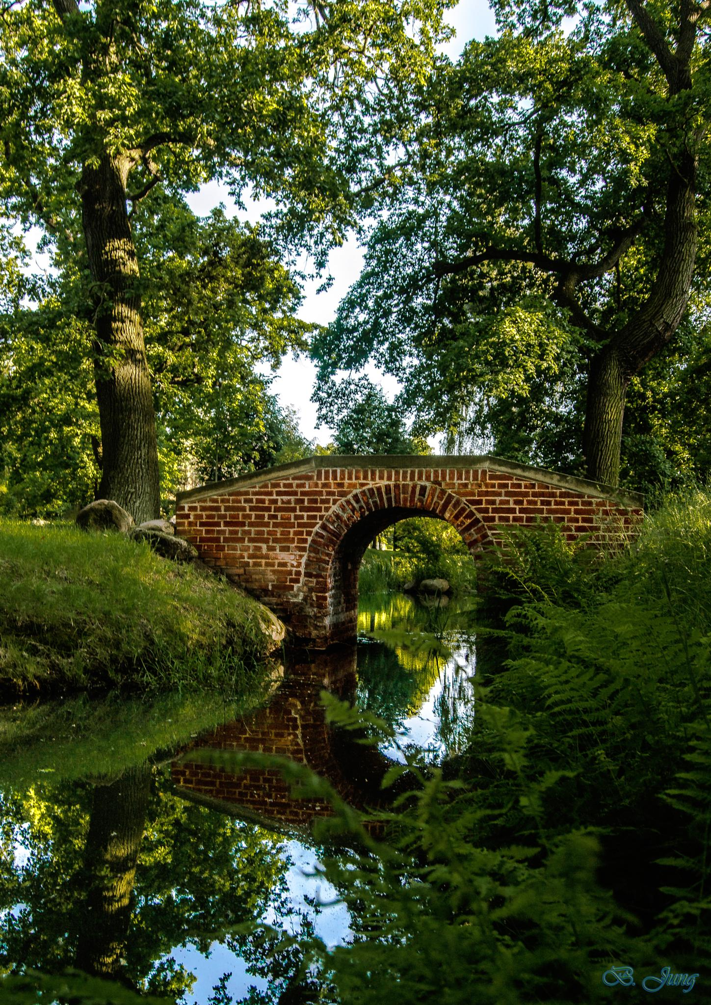 small beautiful stone bridge in the park by FOTO Bjoern