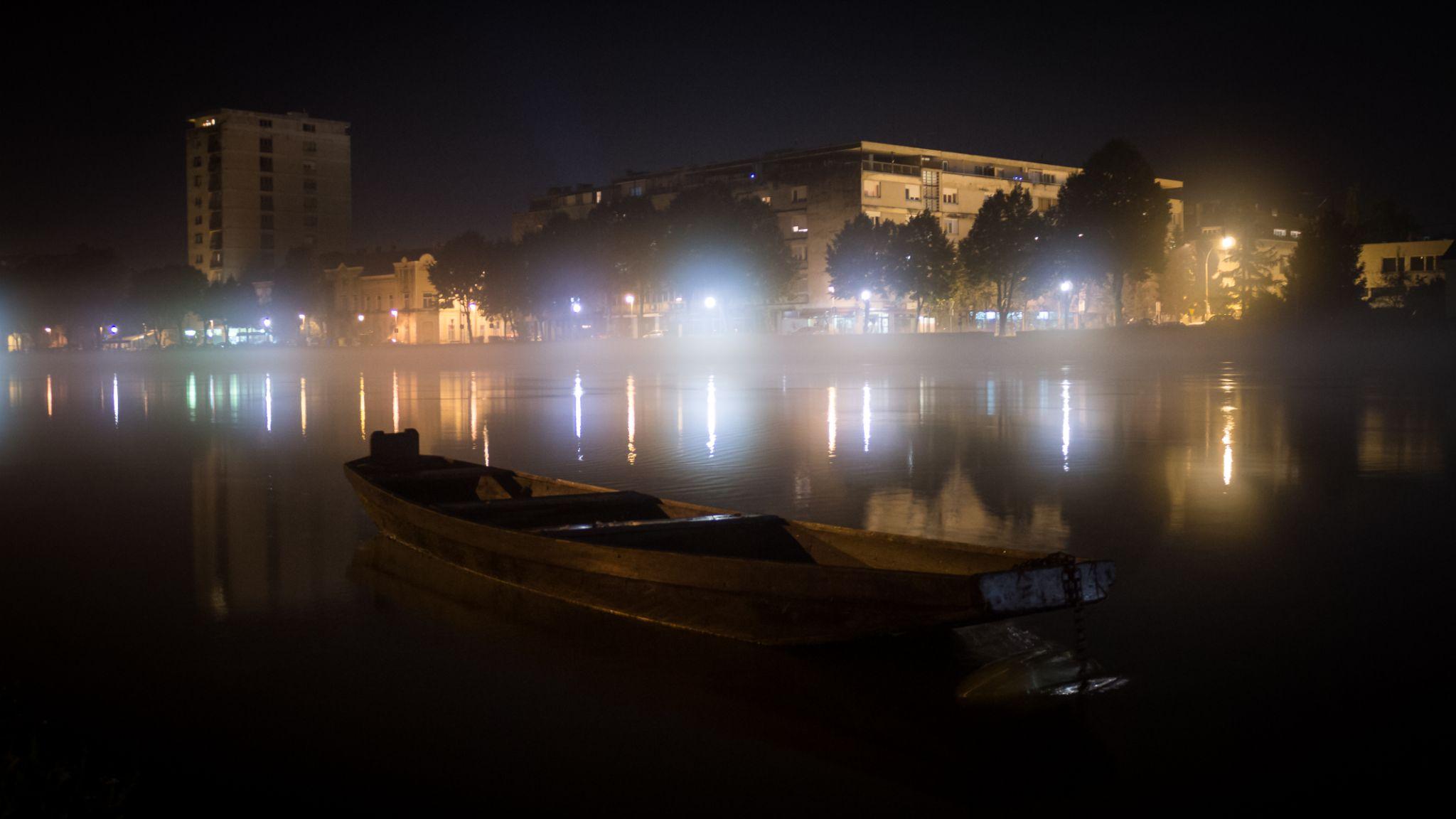 Night light on river Kupa by oliversvob