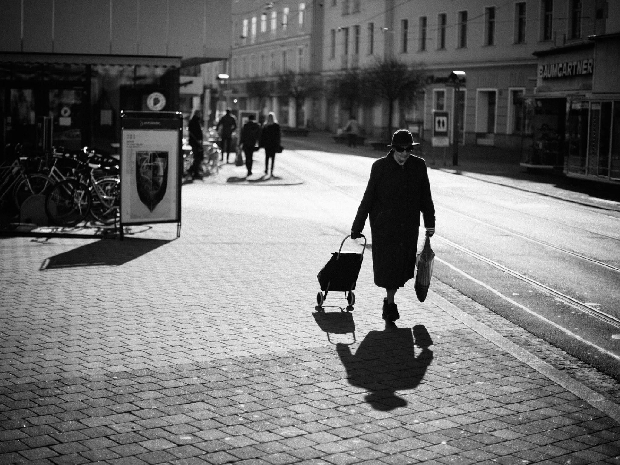bringing home the shopping trolley by fotoschalk