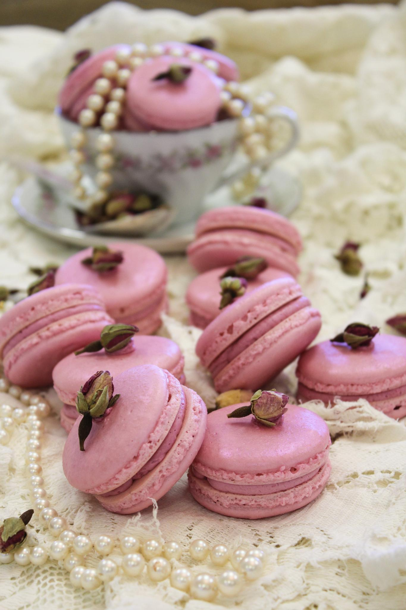 Raspberry Rose French Macarons by The Butterfly Huntress
