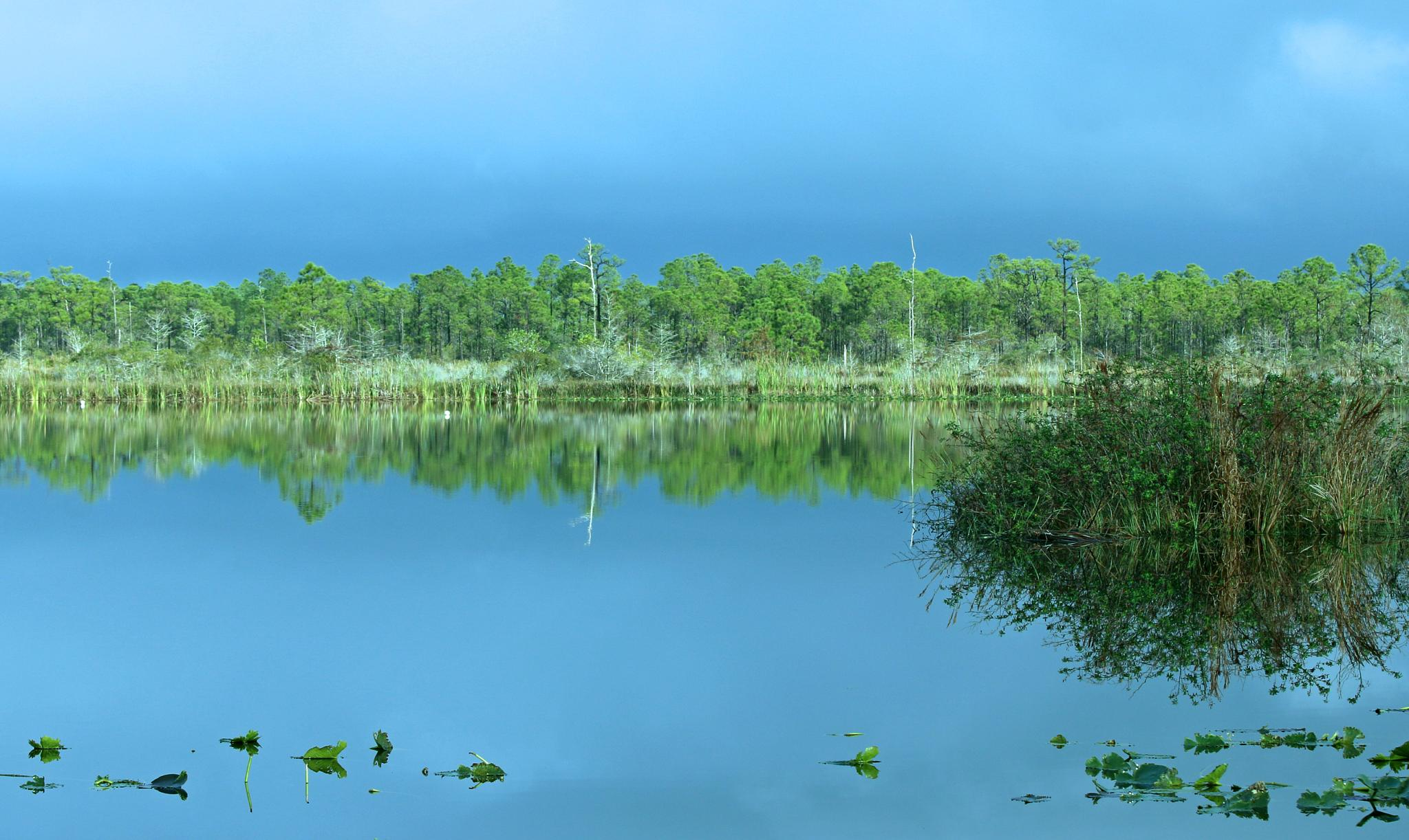 Blue Sky & Water Reflection by TClaud