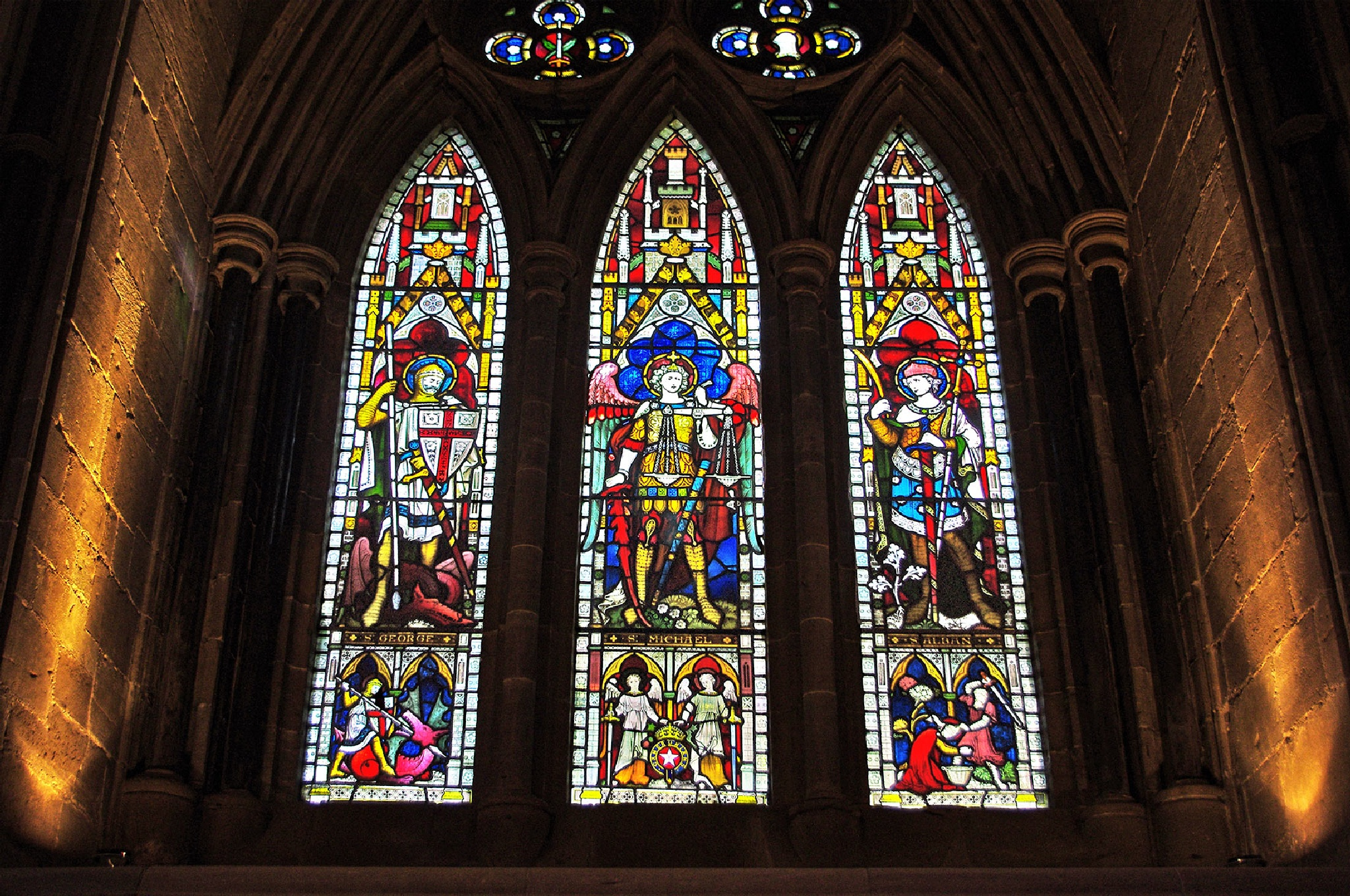 stained glass windows of the cathedral in Hereford, England by Tomasz Marciniak