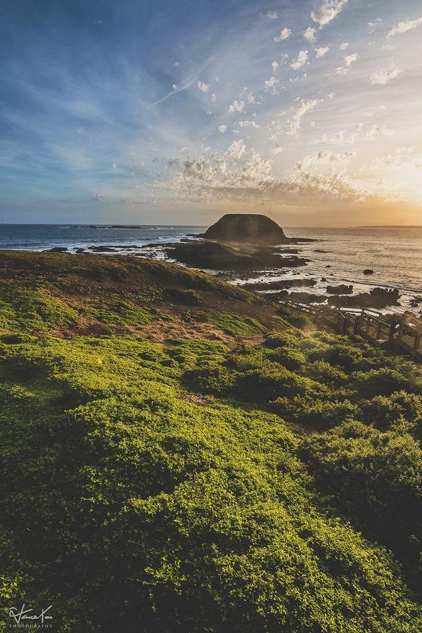 Photo in Landscape #sunset #sky #rock #green #ocean #sea