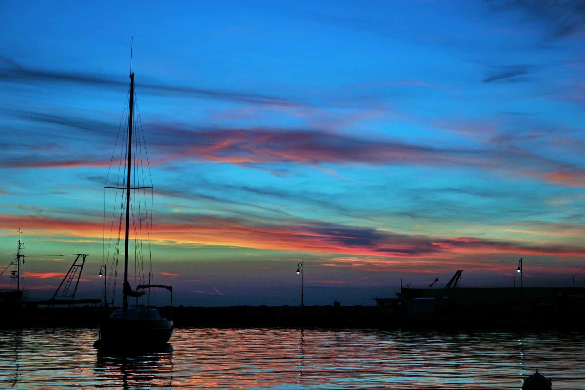 peacefull harbur evening by BernardaBizjak