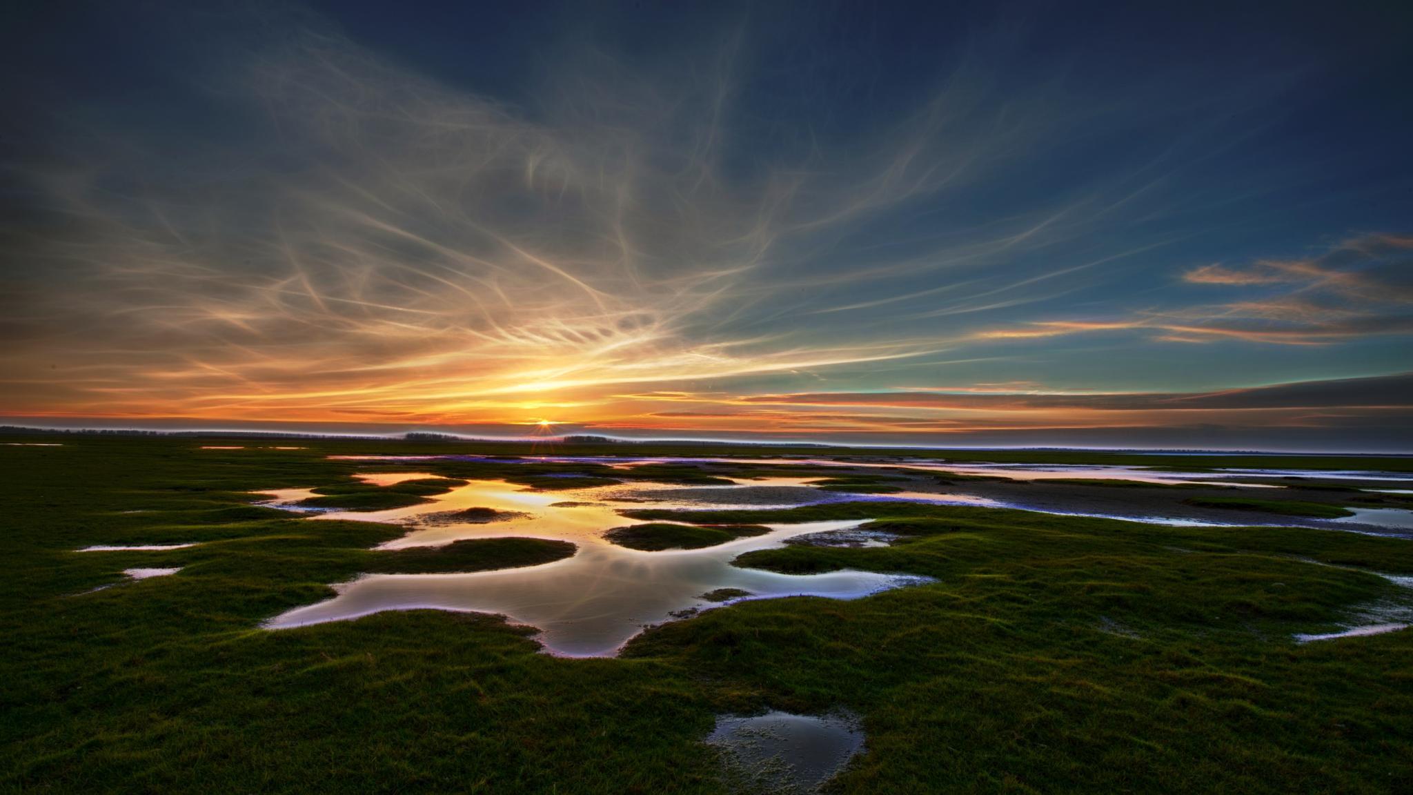 Glowing Sunset Lauwersoog by R van Wijk