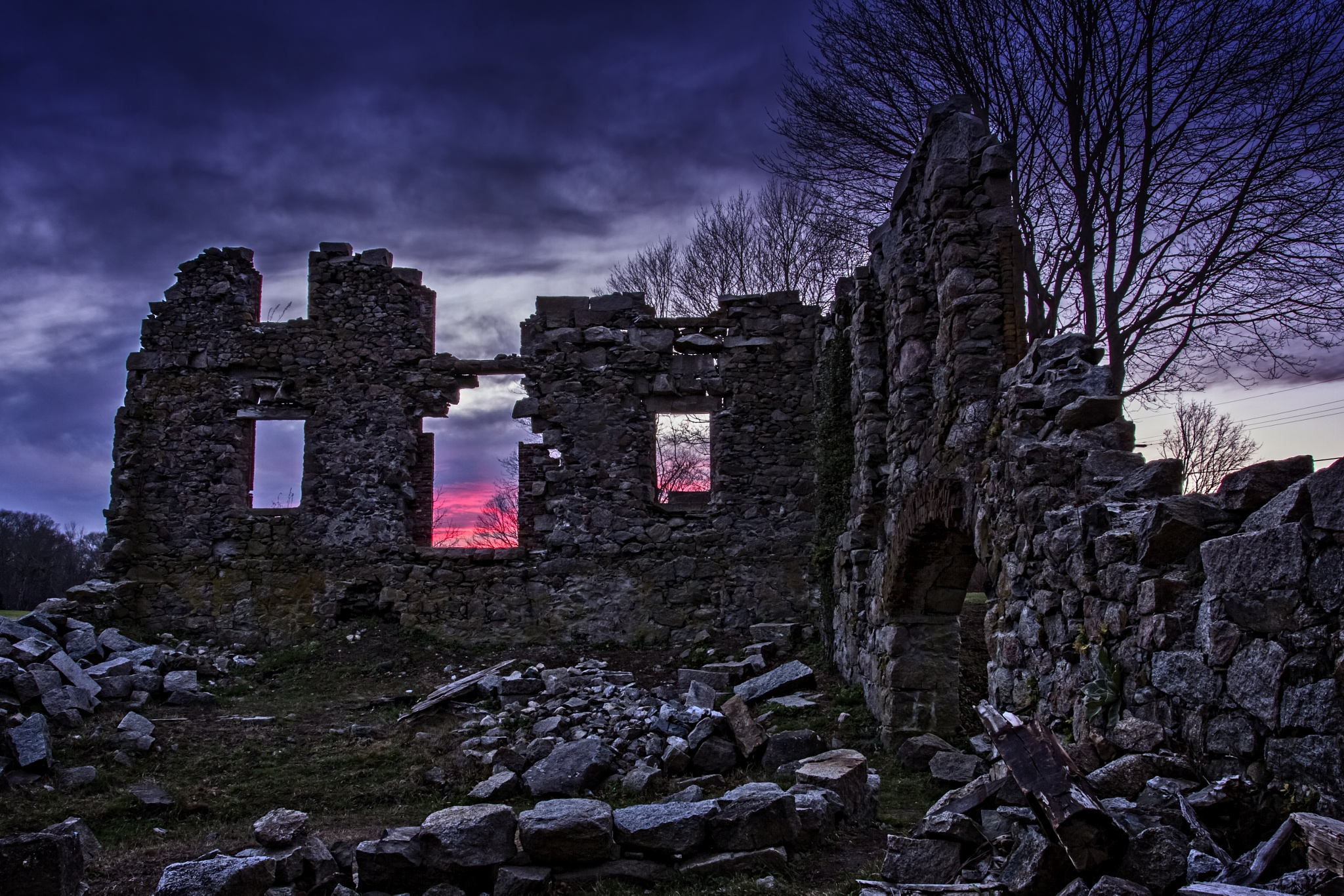 Sunset at Whites Factory ruins by almartinez