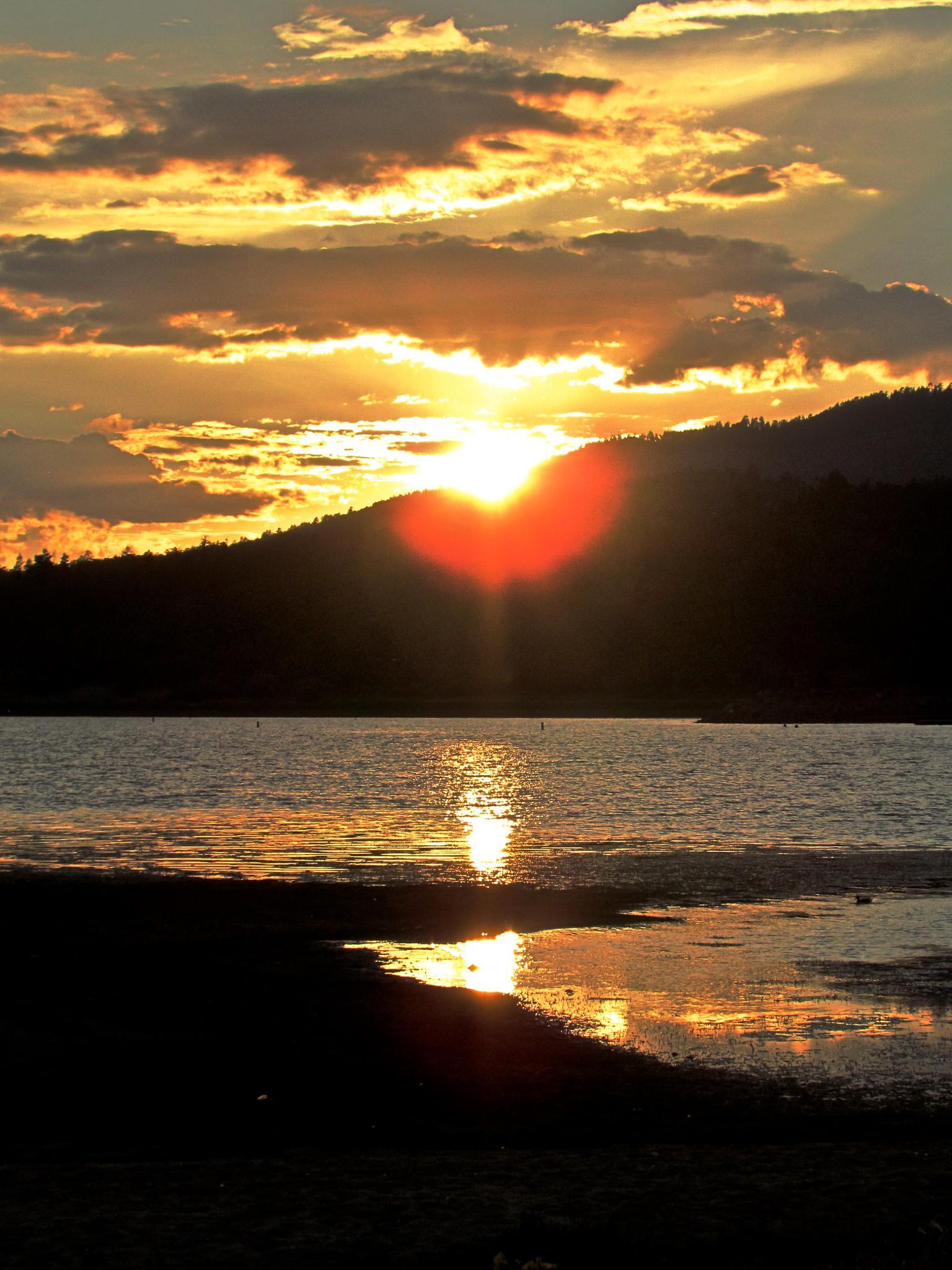 Sunset at Big Bear Lake by MelanieAnnePhillips