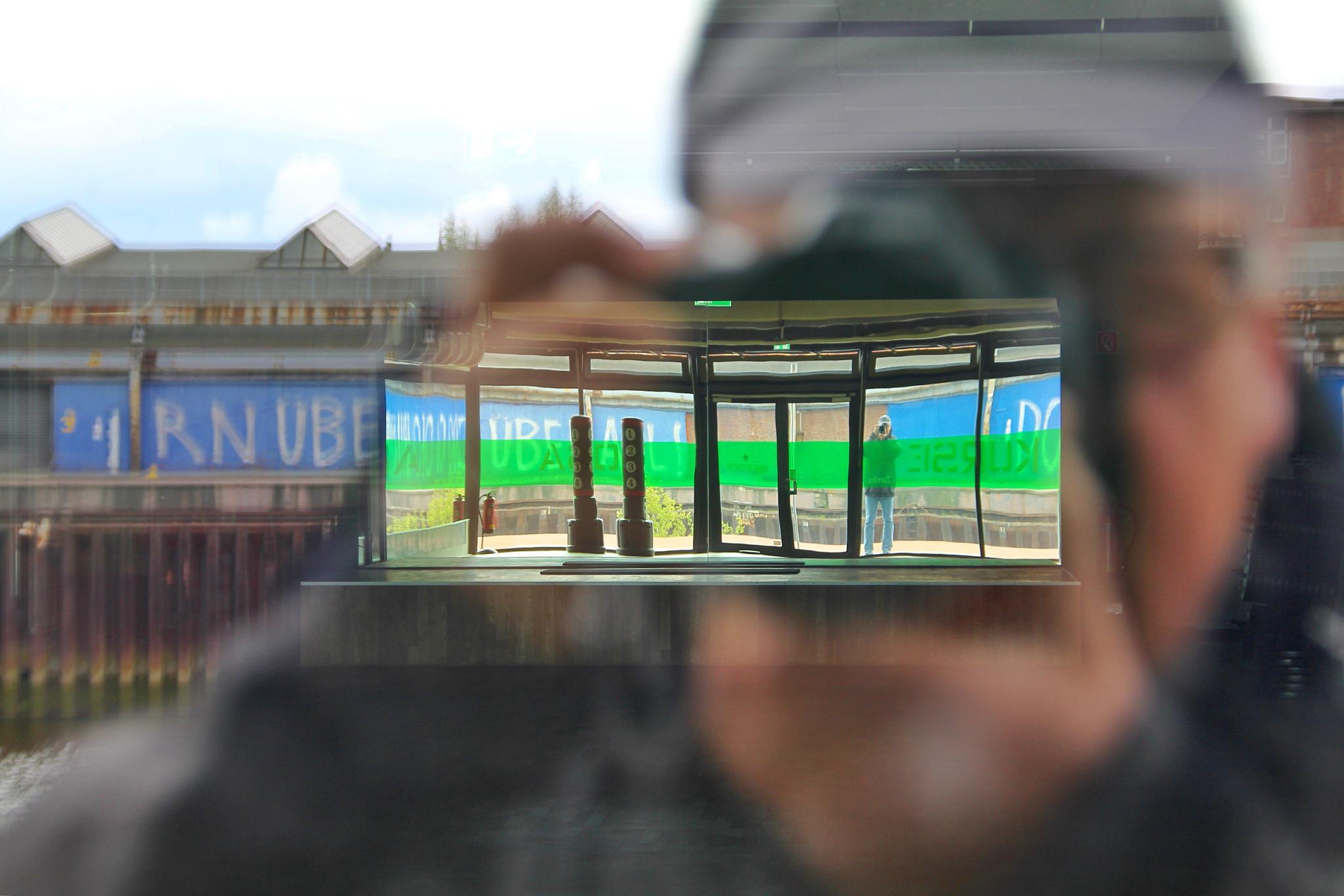 Photo in Portrait #shop window #bremen #überseestadt #reflexionen #lichtbrechung