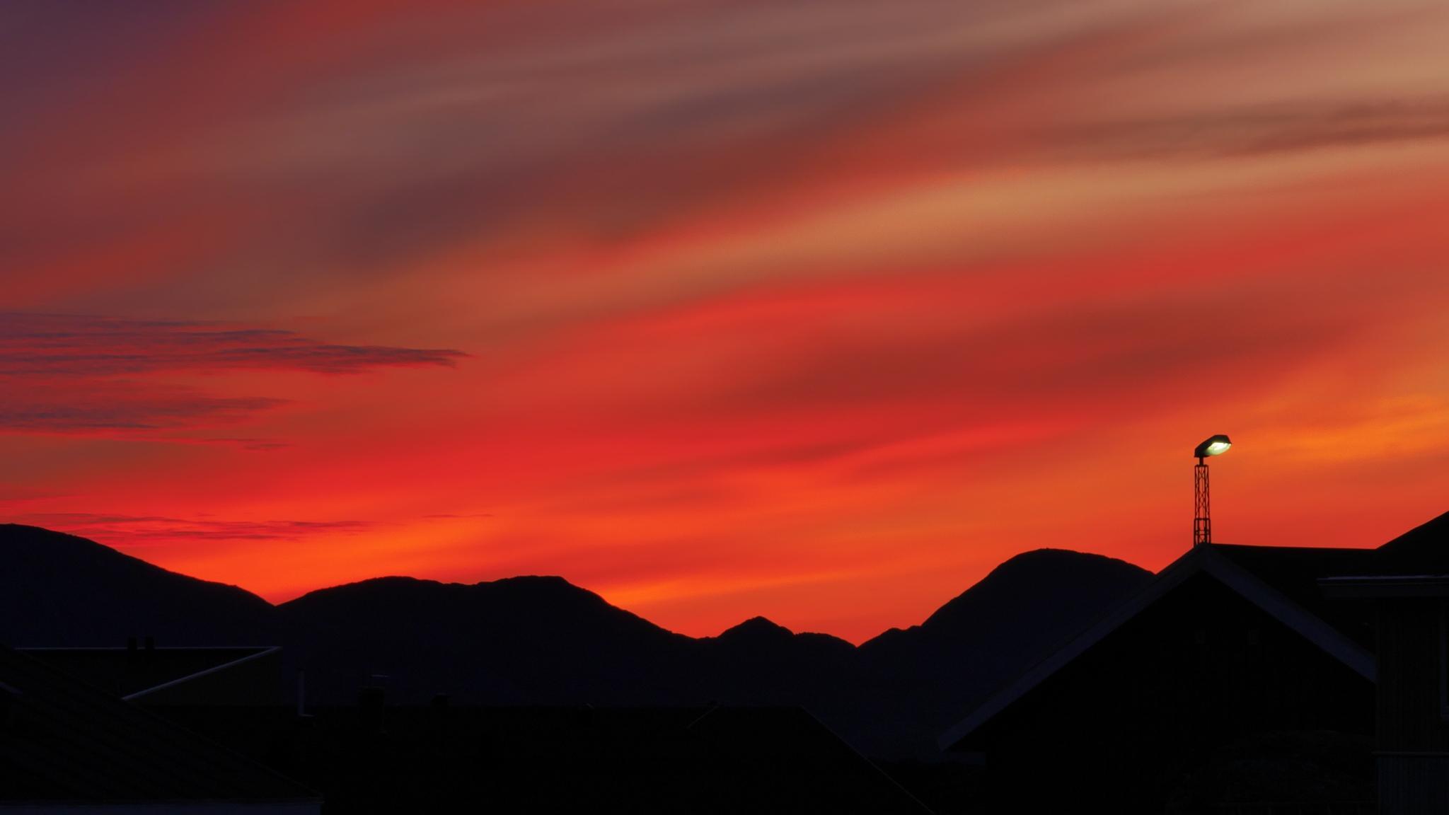 sunset nuuk greenland. by Tom Augo Lynge